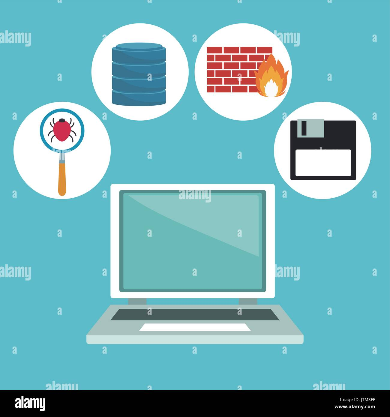 color background with computer laptop and technology elements in icons Stock Vector