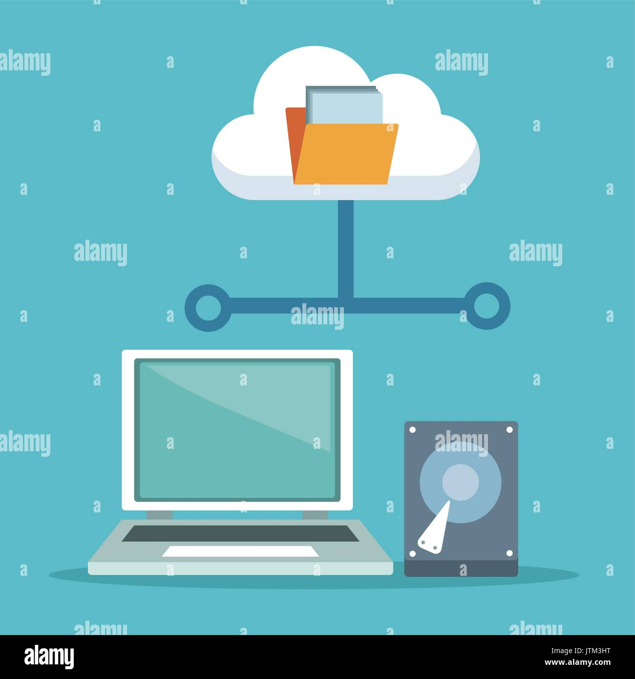 color background with laptop computer and hard drive with cloud storage Stock Vector