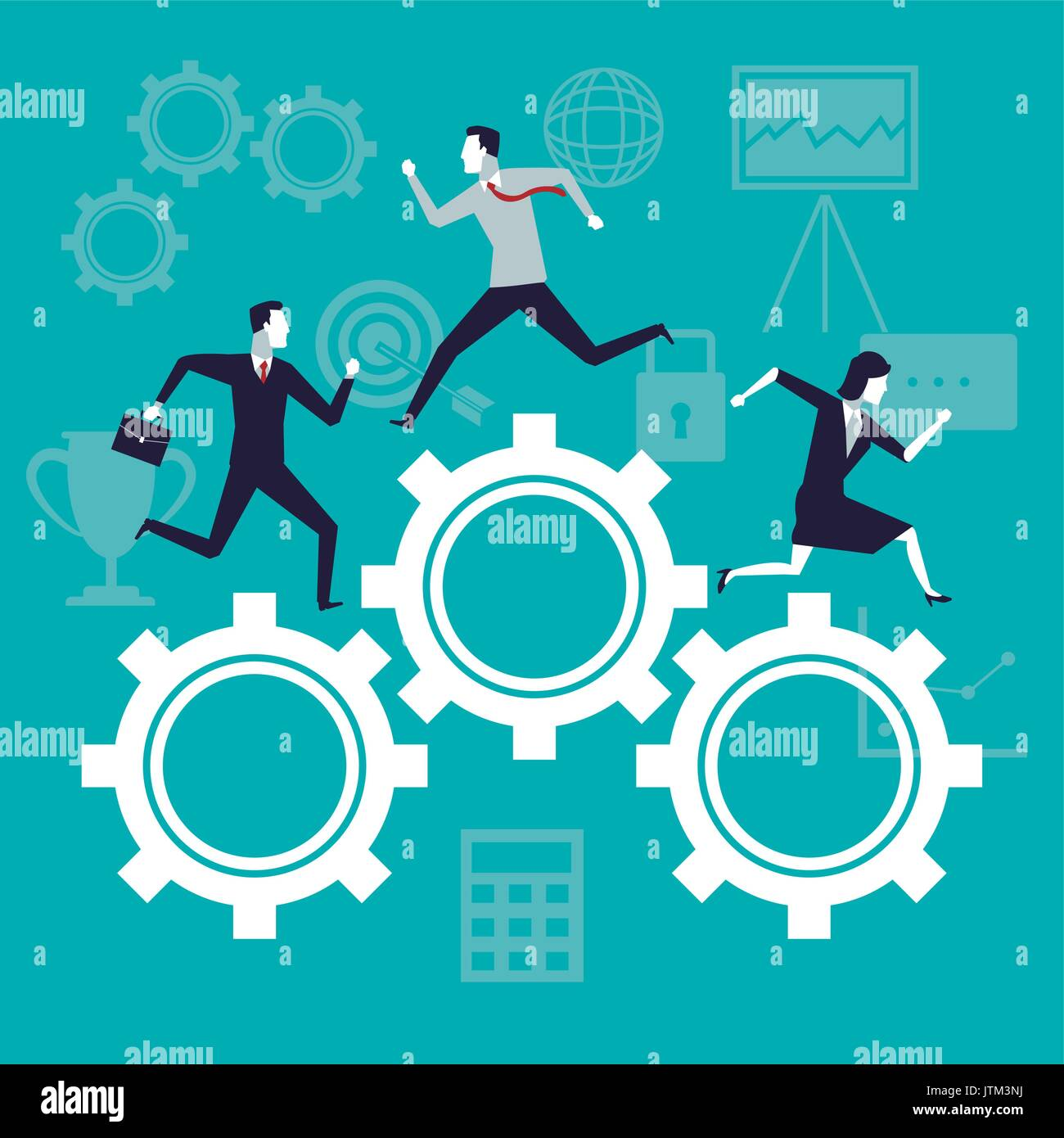 color background business growth with business people running in mechanism gears - Stock Image