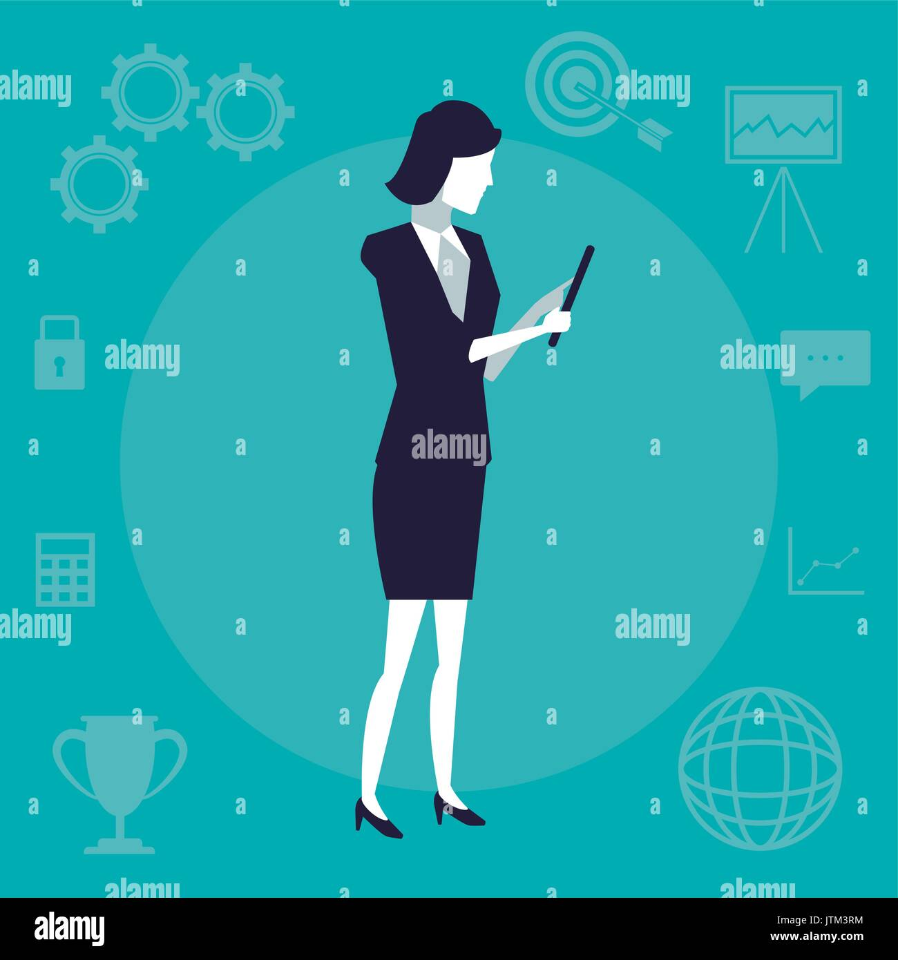 color background with executive woman with tablet device - Stock Image