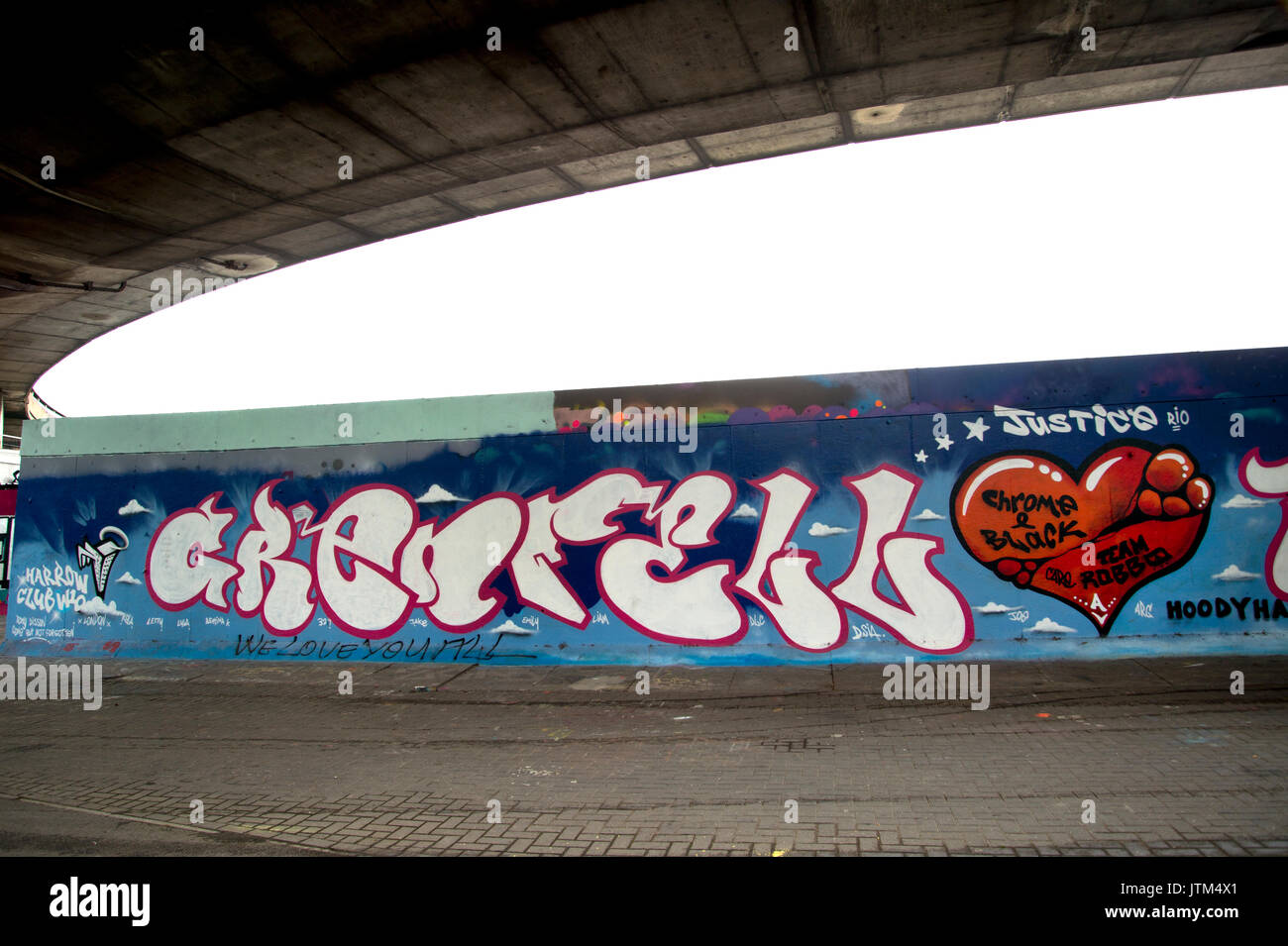 Grenfell Tower, West London. Aftermath of the tragedy. Mural under the Westway motorway painted by members of the local youth club. - Stock Image