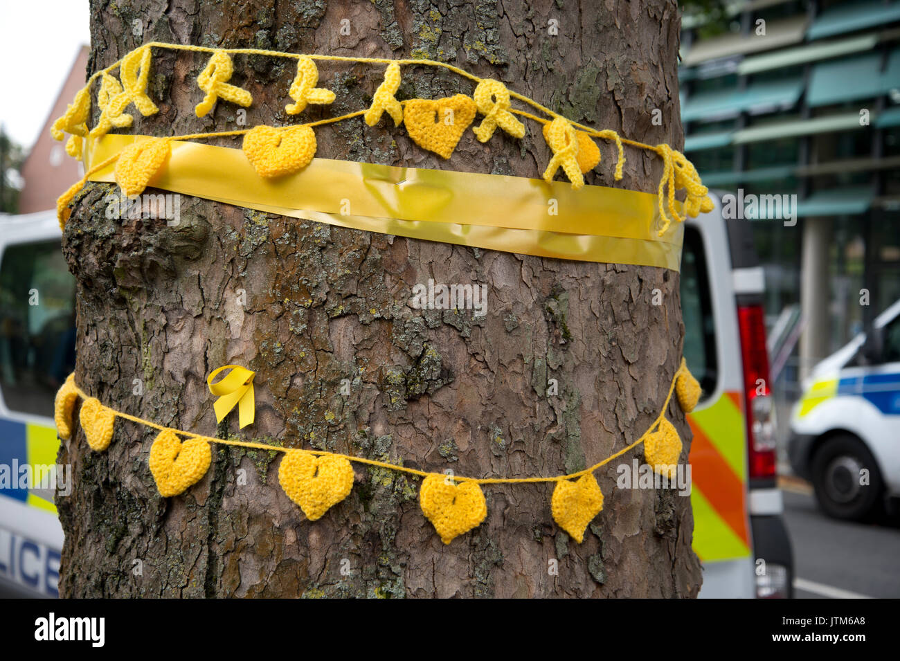 Grenfell Tower, West London. Aftermath of the tragedy. Yellow crocheted hearts to honour the missing tied around a tree near the burnt out tower. - Stock Image