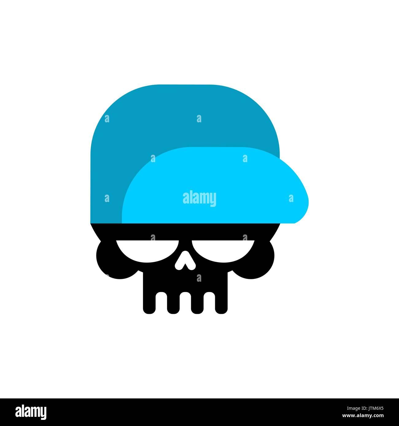c101d166320 Skull in baseball cap isolated .Head of skeleton in hat - Stock Image
