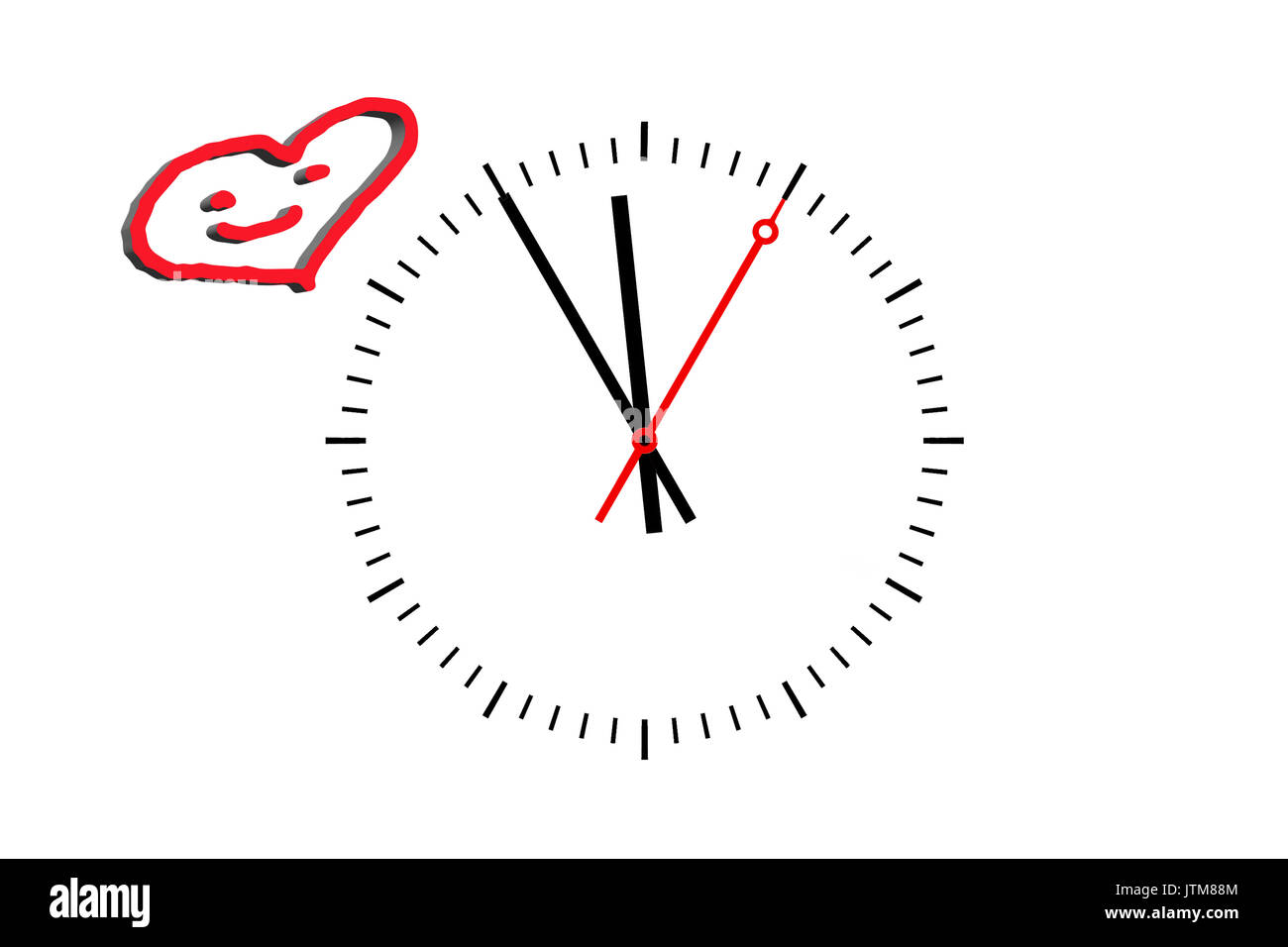 Clock, Digits sheet with hour hand, minute hand and a red second hand indicates the time 5 before 12. Copy space on white background. - Stock Image