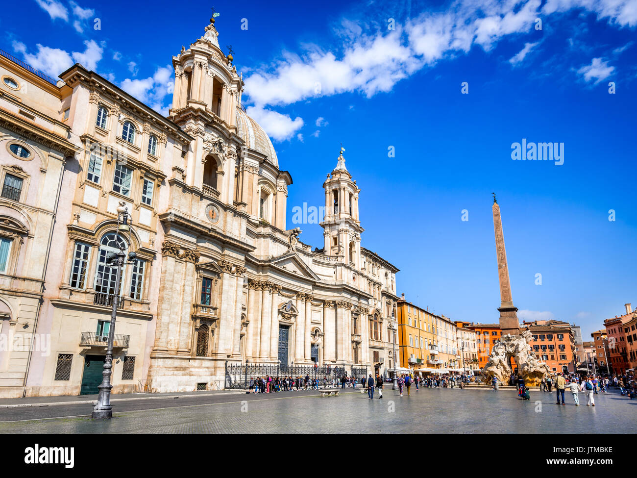 ROME, ITALY - 13 APRIL 2017: Piazza Navona, Rome, Italy with the famous Egyptian obelisk italian Rennaisance culture. - Stock Image