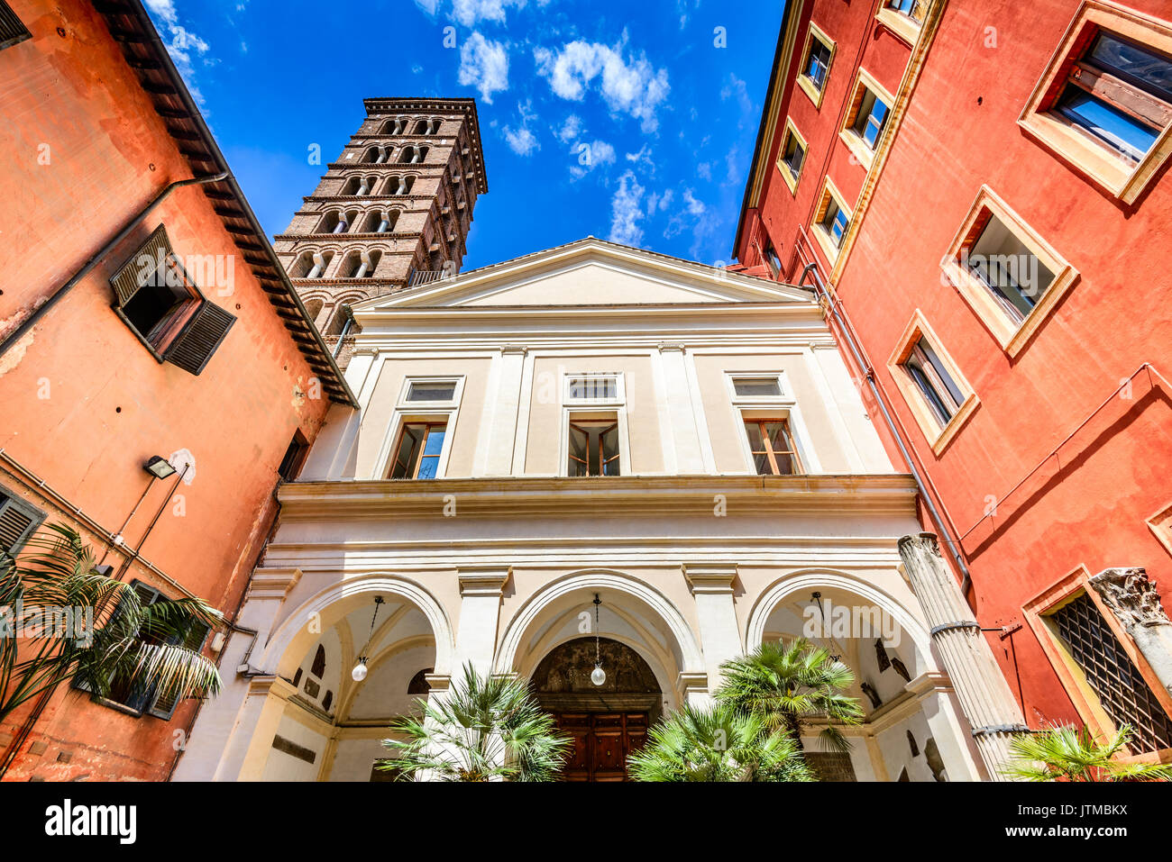Rome, Italy. Church San Silvestro in Capite, built in 8th century  dedicated to Pope Saint Sylvester. - Stock Image