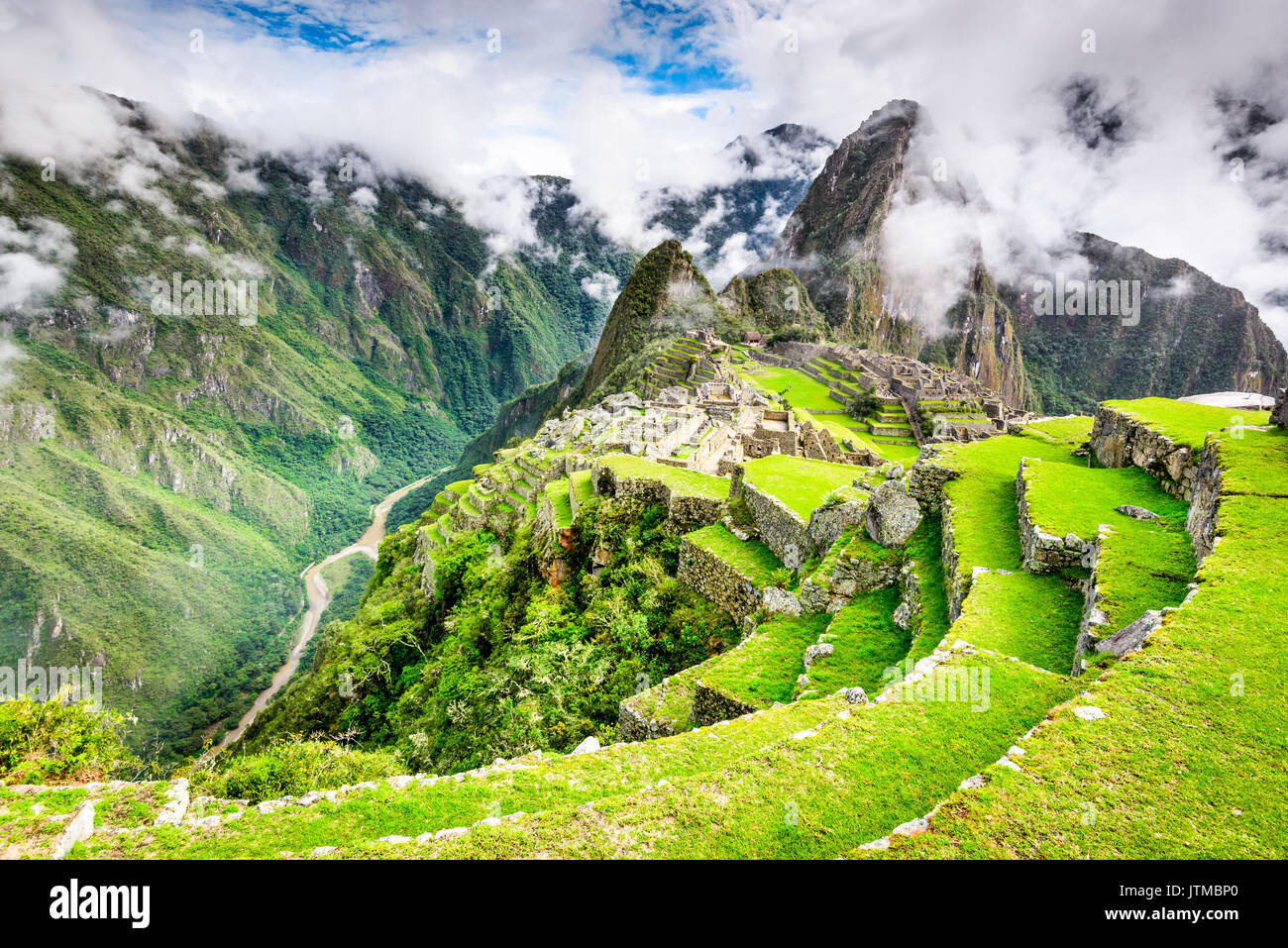 Machu Picchu, Peru - Ruins of Inca Empire city and Huaynapicchu Mountain, Sacred Valley, Cusco. Amazing place of South America. - Stock Image