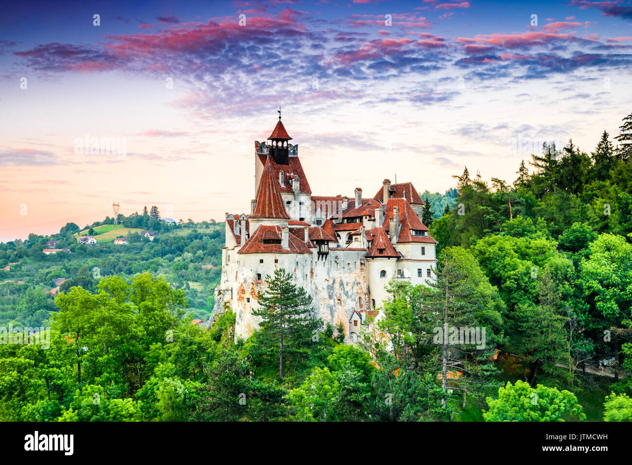 Bran Castle, Romania. Stunning HDR twilight image of Dracula fortress in Transylvania, medieval landmark. - Stock Image