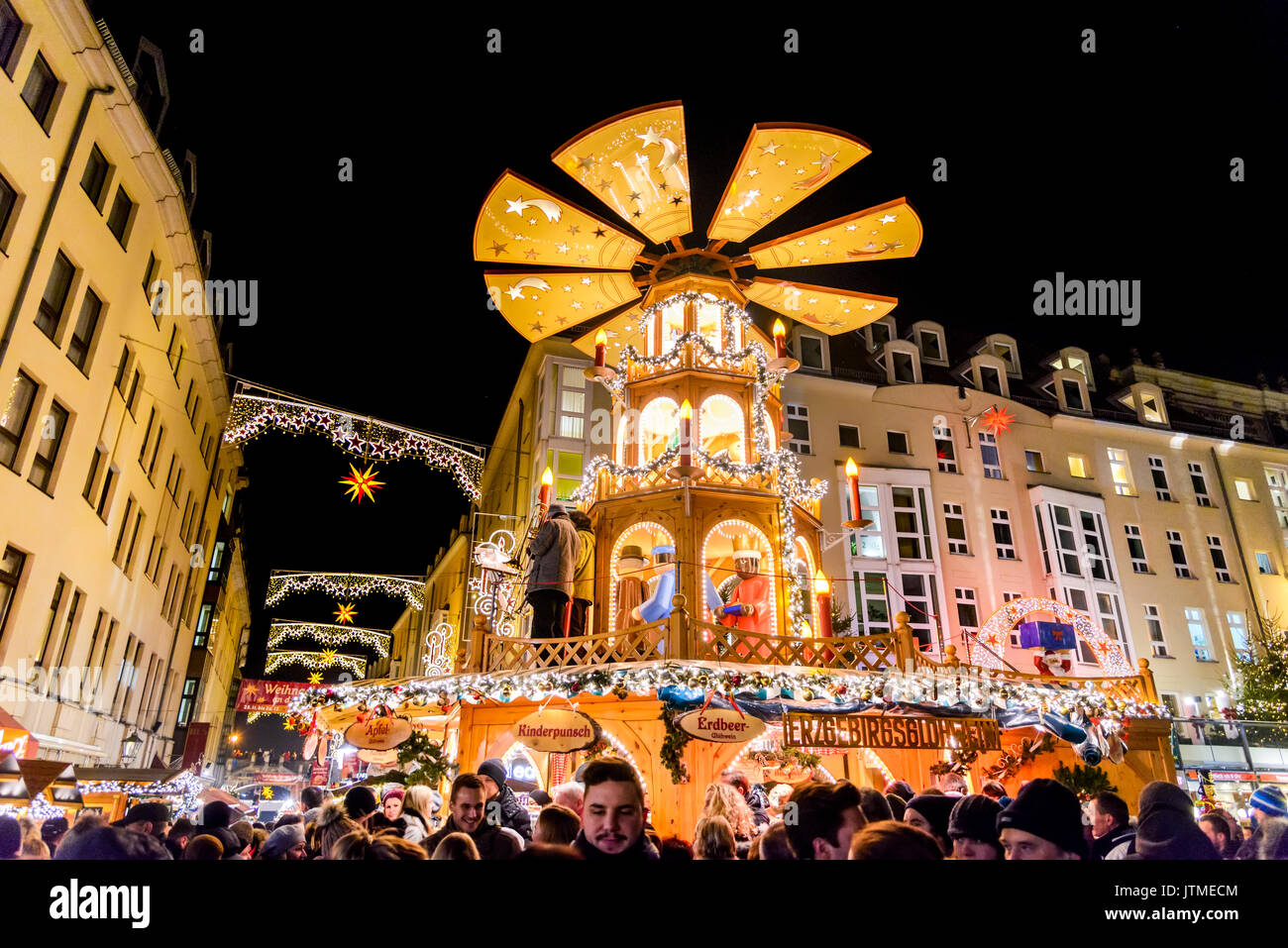 DRESDEN, SAXONY / GERMANY -  17 DECEMBER 2016: People visit Christmas Markets in Dresden, Germany. Christmas fair, European traditions for Xmas. - Stock Image