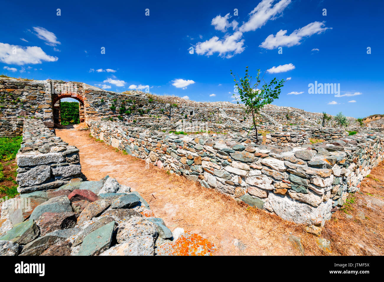 Histria, Romania - Ruins of ancient Greek colony city of Istros established by Milesian settlers. Dobruja, Black Sea. - Stock Image