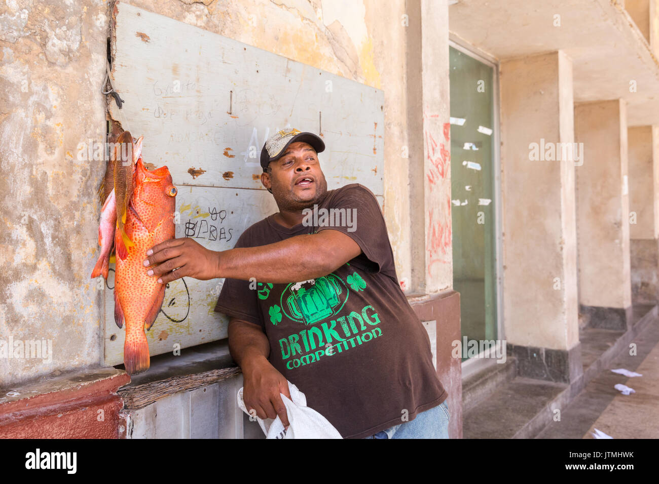 Street vendor selling  a red hind (also called lucky grouper) fresh fish in a street in Old Havana, Cuba - Stock Image