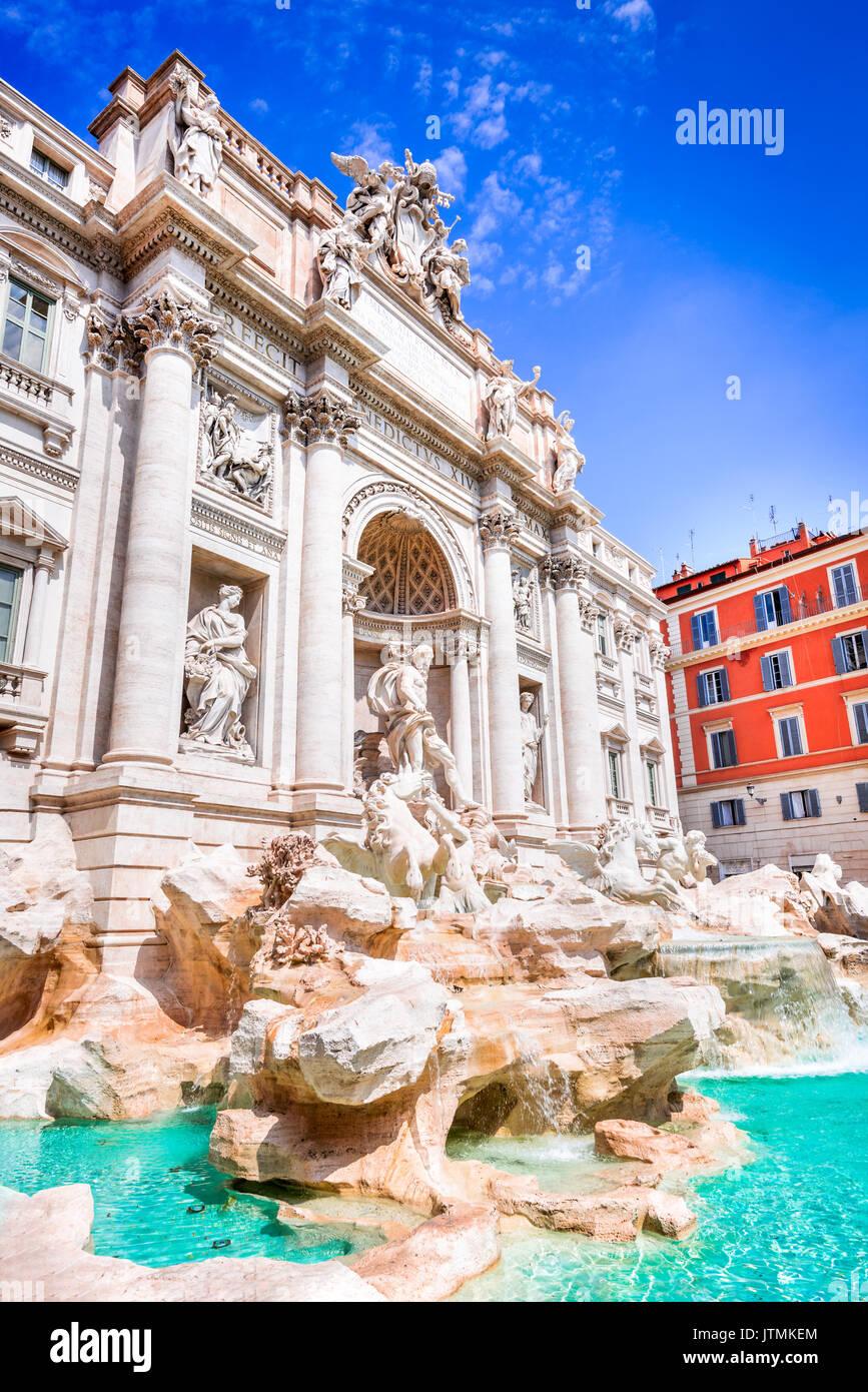 Rome, Italy. Famous Fontana di Trevi and Palazzo Poli, Bernini architecture in Baroque style. - Stock Image