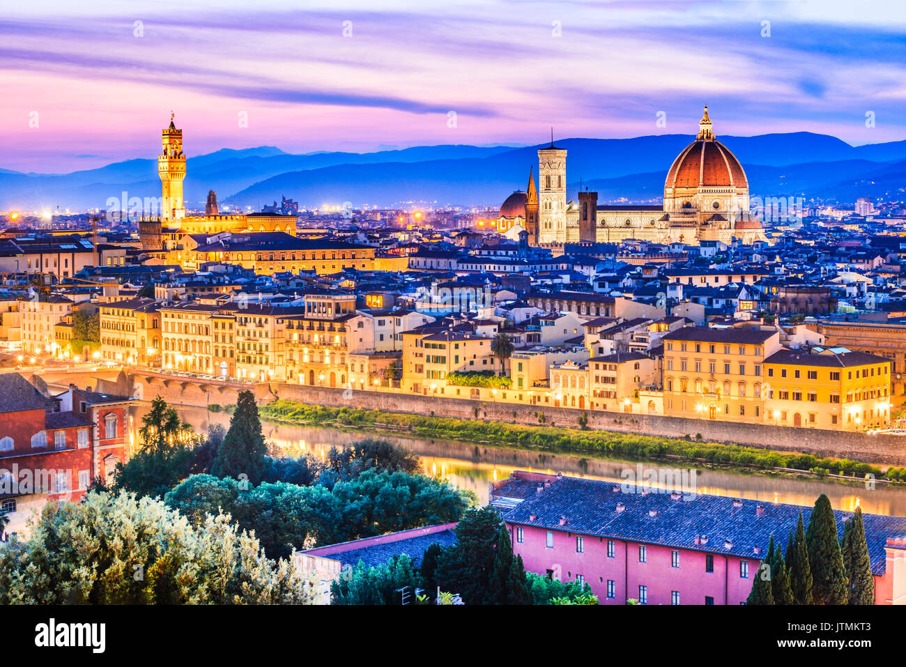 Florence, Tuscany - Night scenery with Duomo Santa Maria del Fiori, Renaissance architecture in Italy. - Stock Image