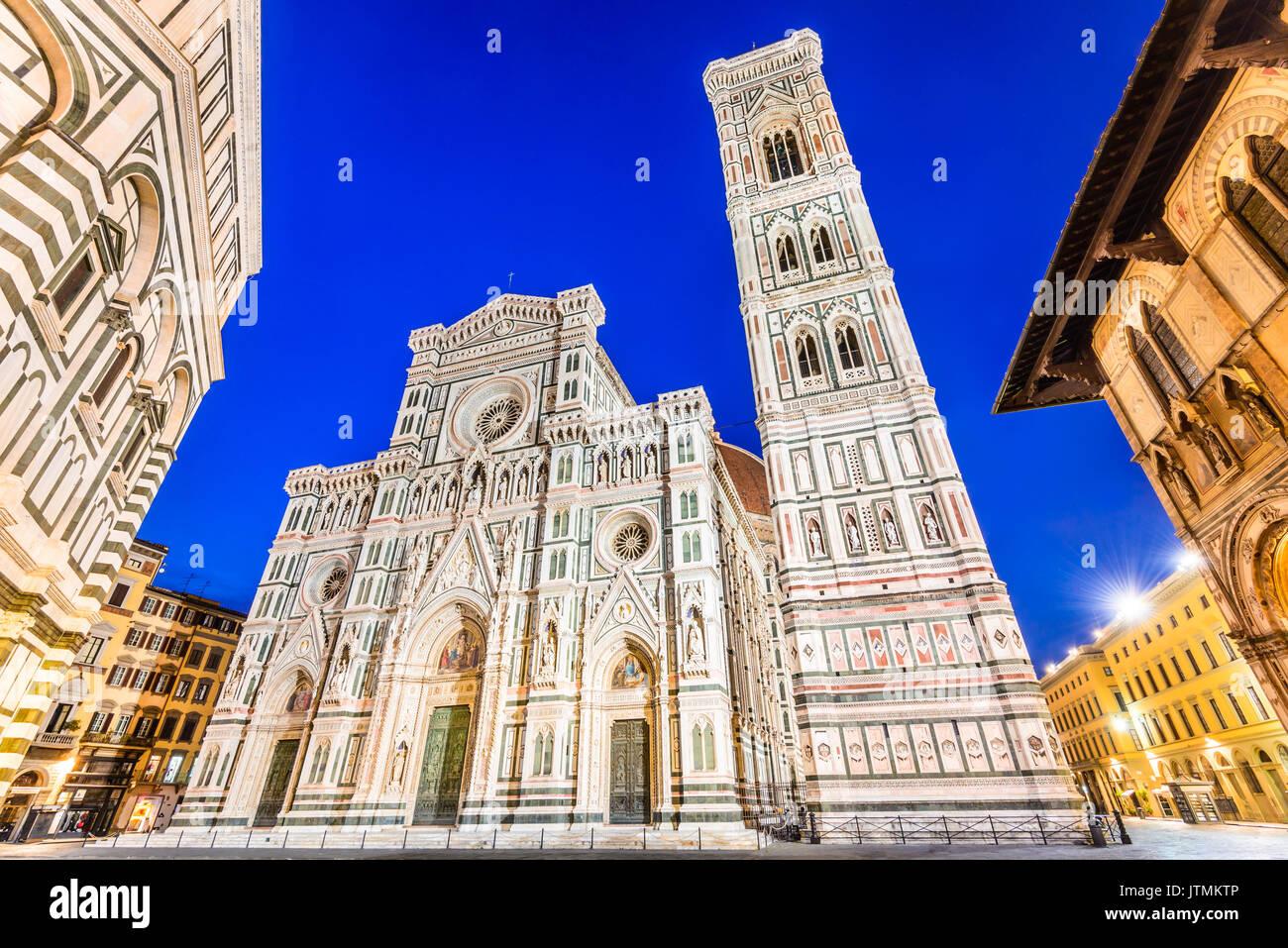 Florence, Tuscany - Night scenery with Piazza del Duomo and Catedrale Santa Maria del Fiori, Renaissance architecture in Italy. - Stock Image
