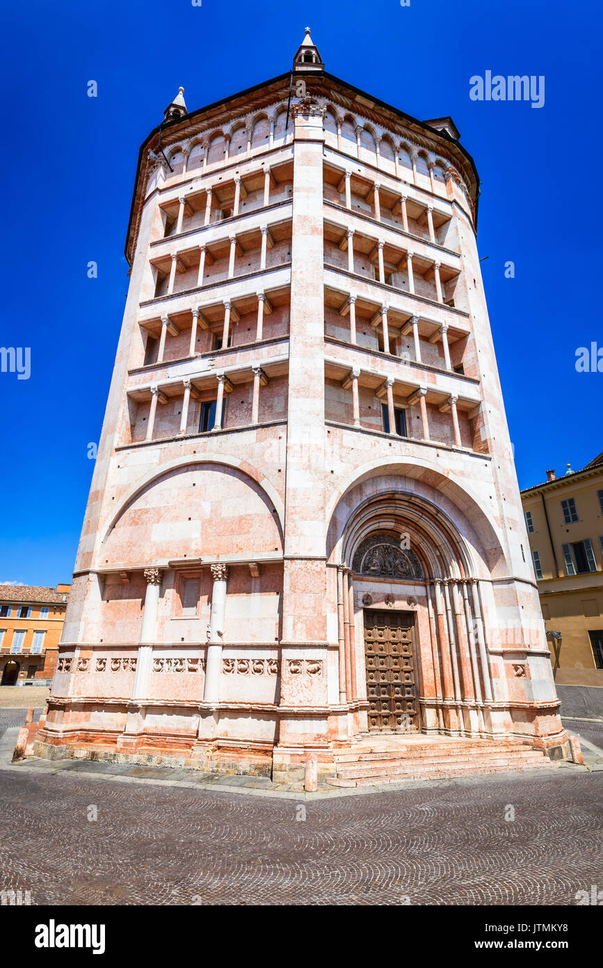 Parma, Italy - Piazza del Duomo with the the Baptistery, built in 1059. Romanesque architecture in Emilia-Romagna. - Stock Image