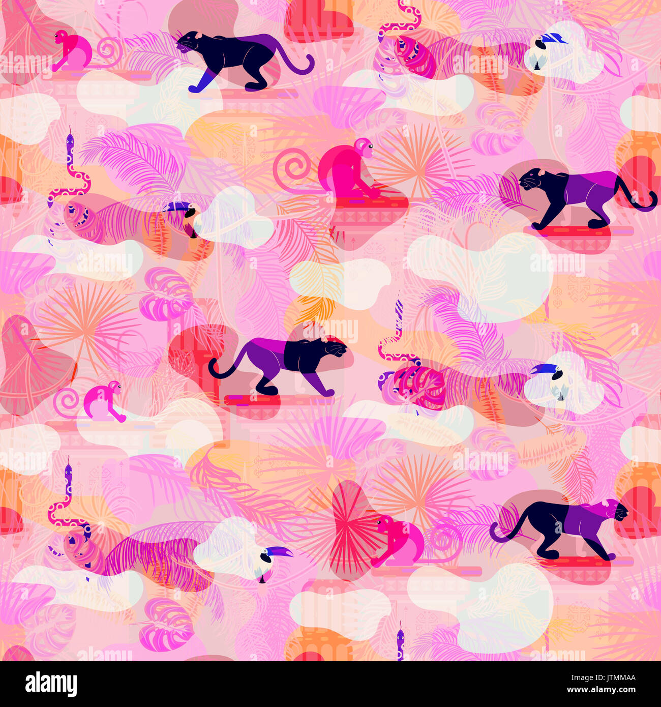 Pink eclectic rainforest wild animals and plants camo seamless pattern. Panther and monkey in the jungles. - Stock Image