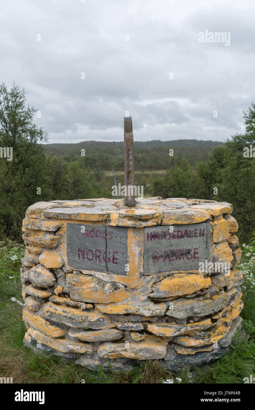 border marker between Norway Norge and Sverige Sweden - Stock Image