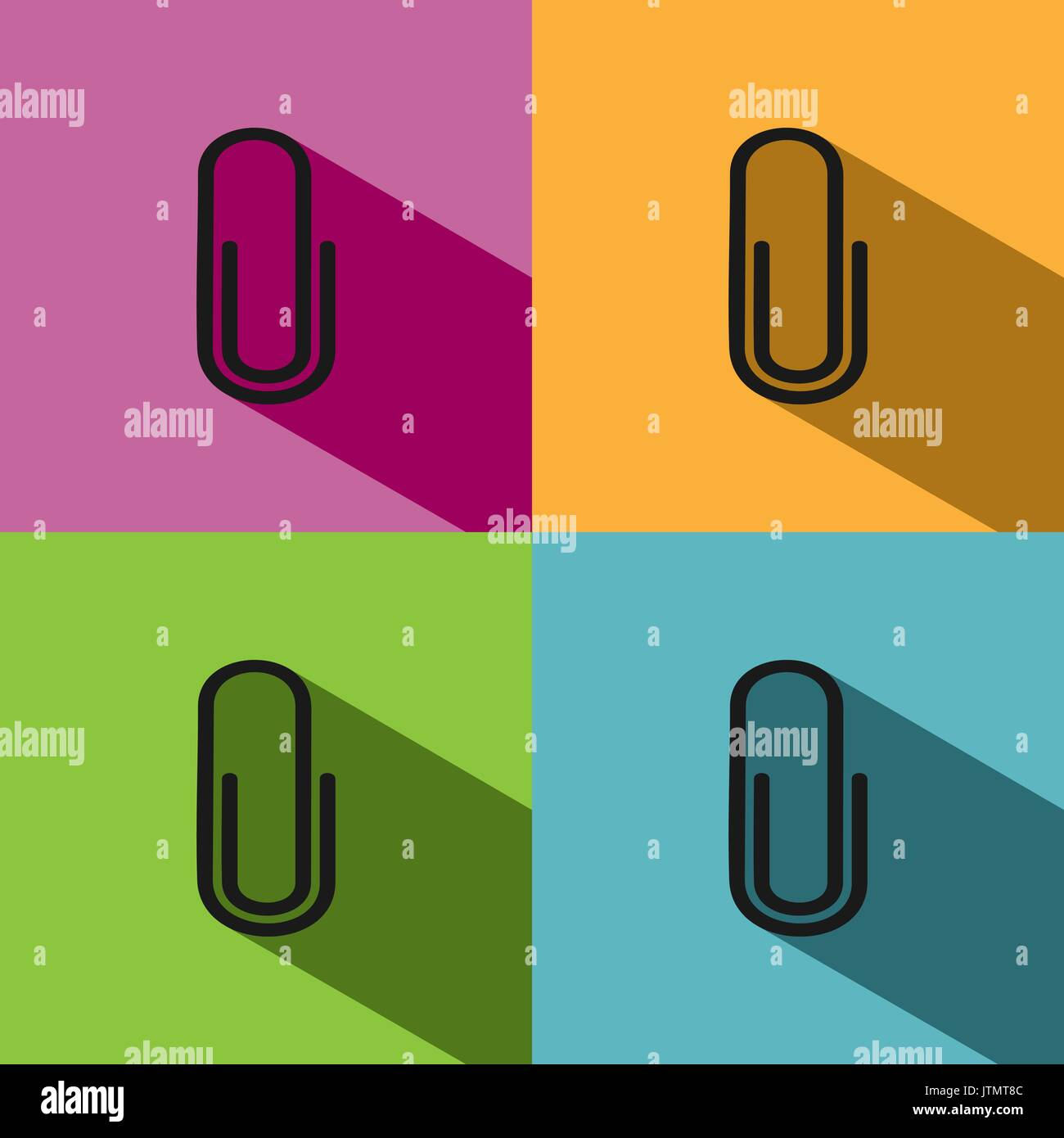 Clip icon with shade on colored backgrounds - Stock Vector