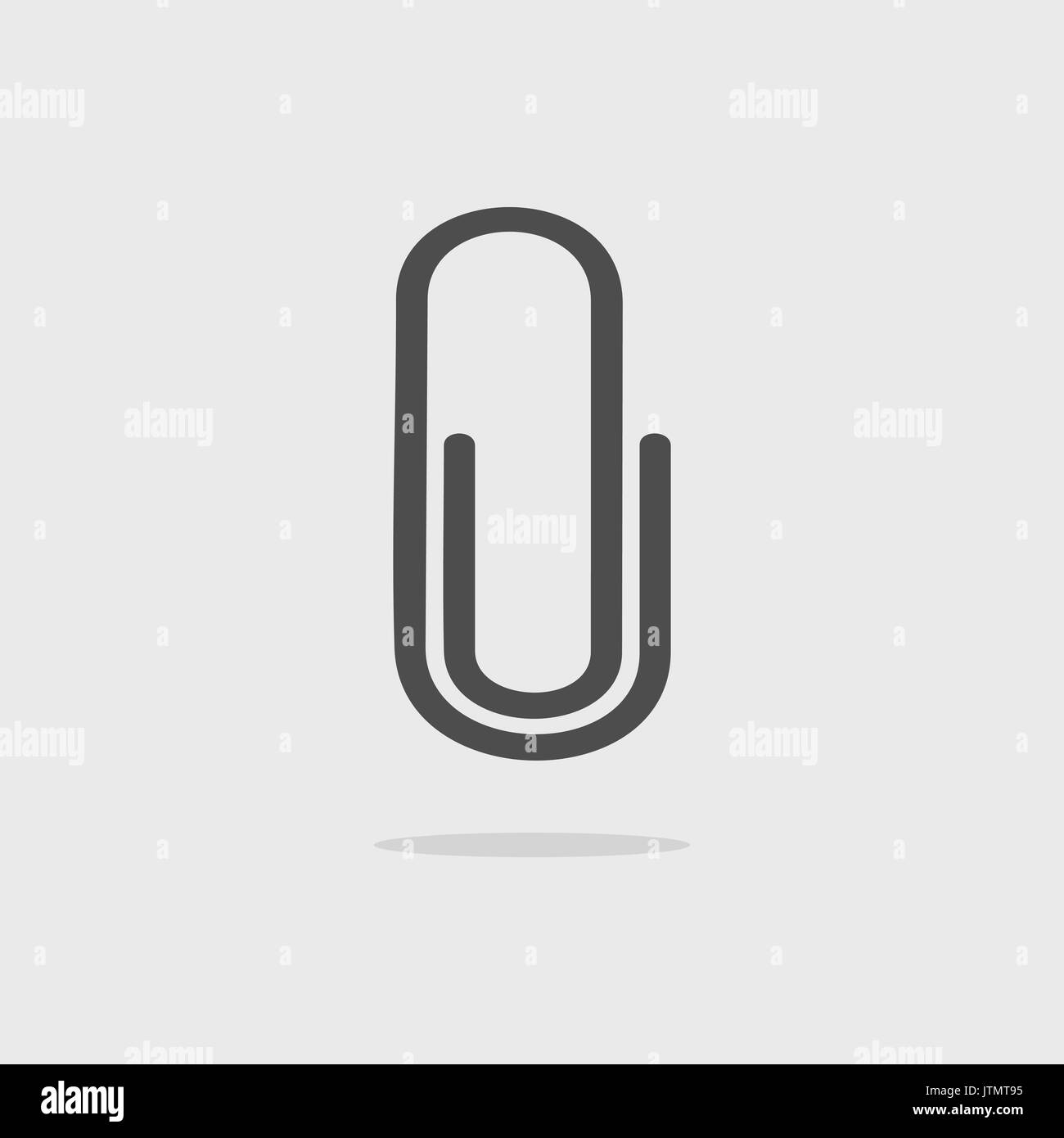 Clip icon with shade on grey background - Stock Vector