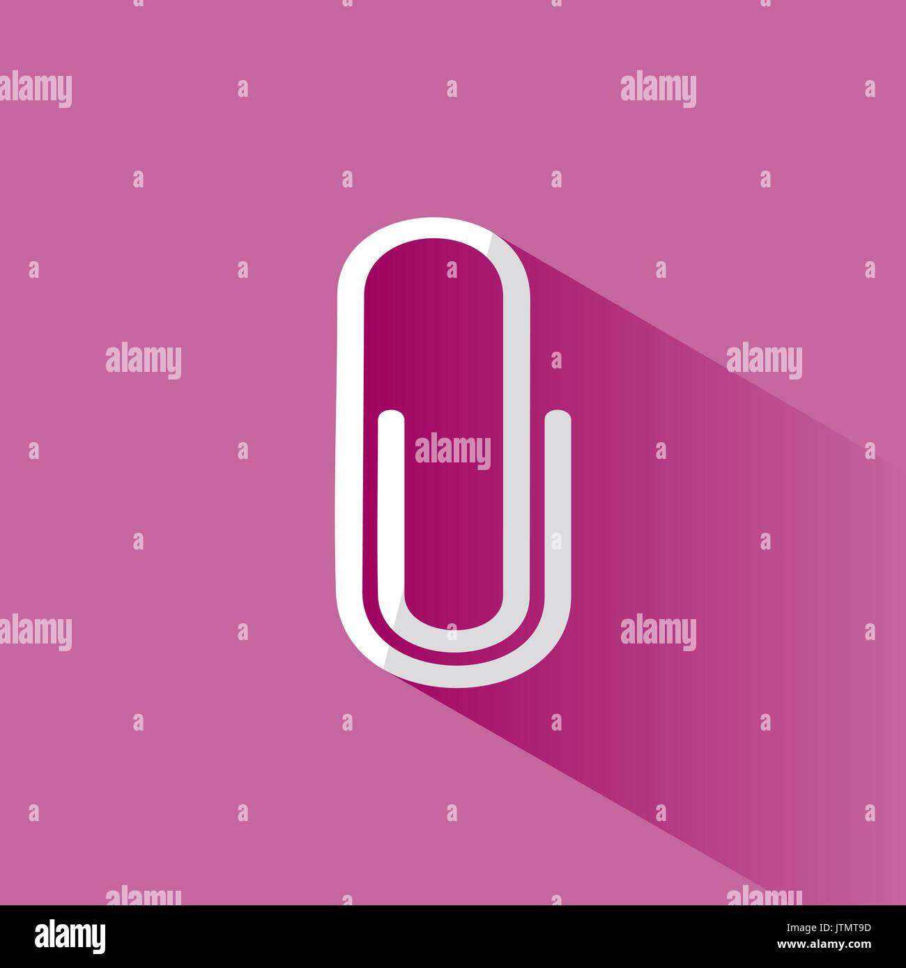 Clip icon with shade on pink background - Stock Vector