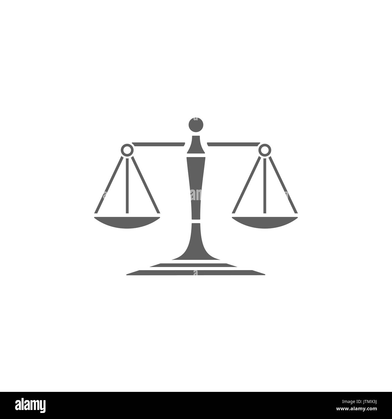 Scales of justice icon on a white background - Stock Image