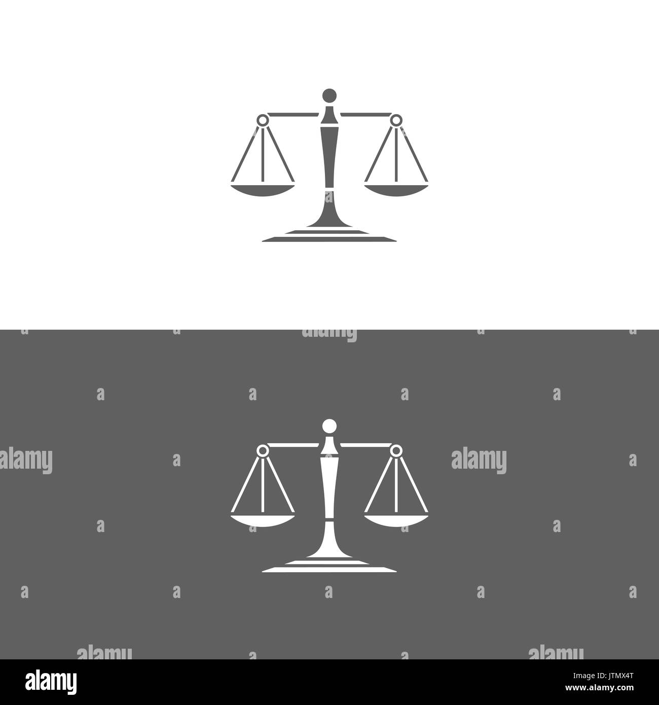 Scales of justice icon on white and dark backgrounds - Stock Image