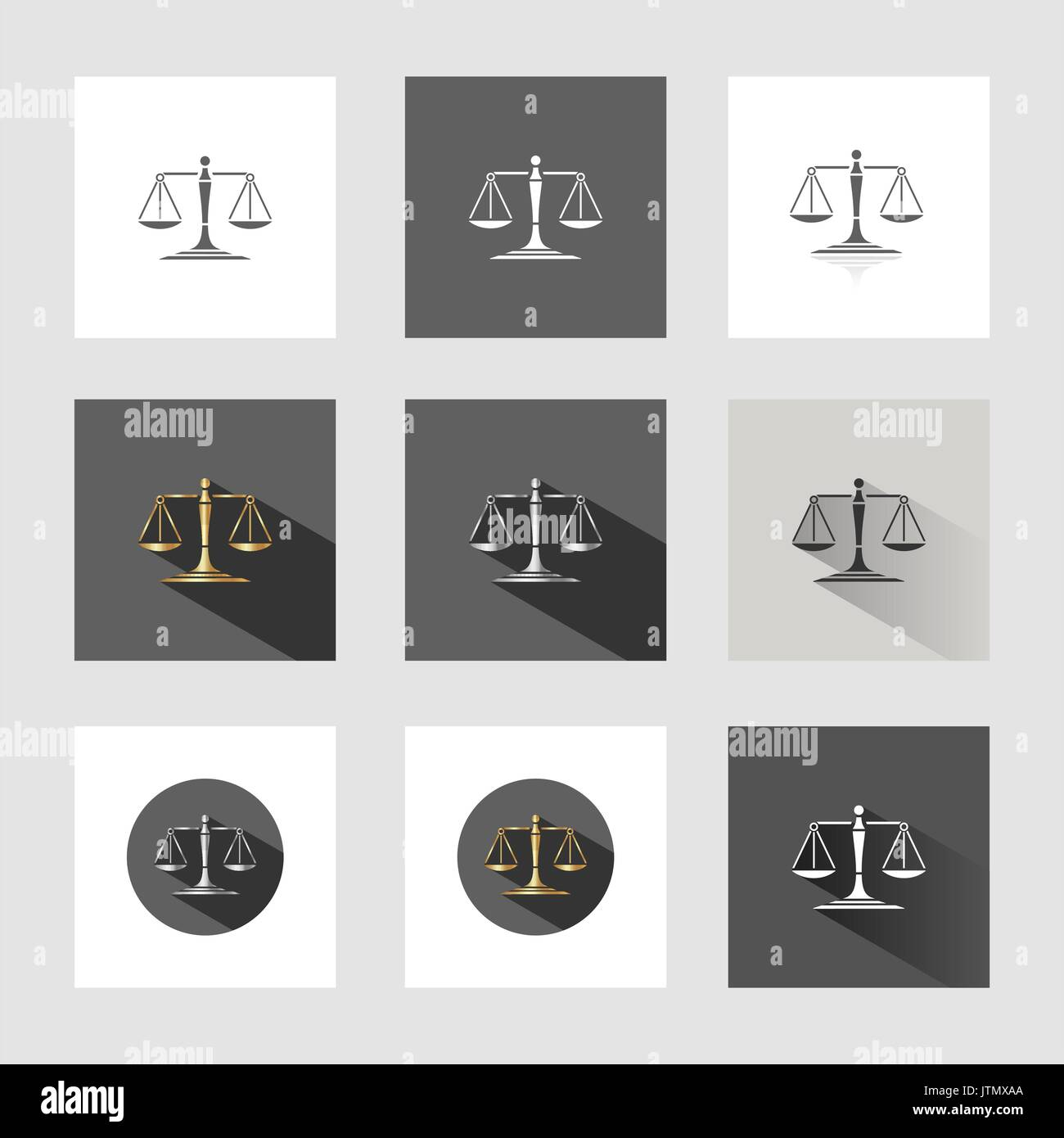 Scales of justice in different versions - Stock Vector