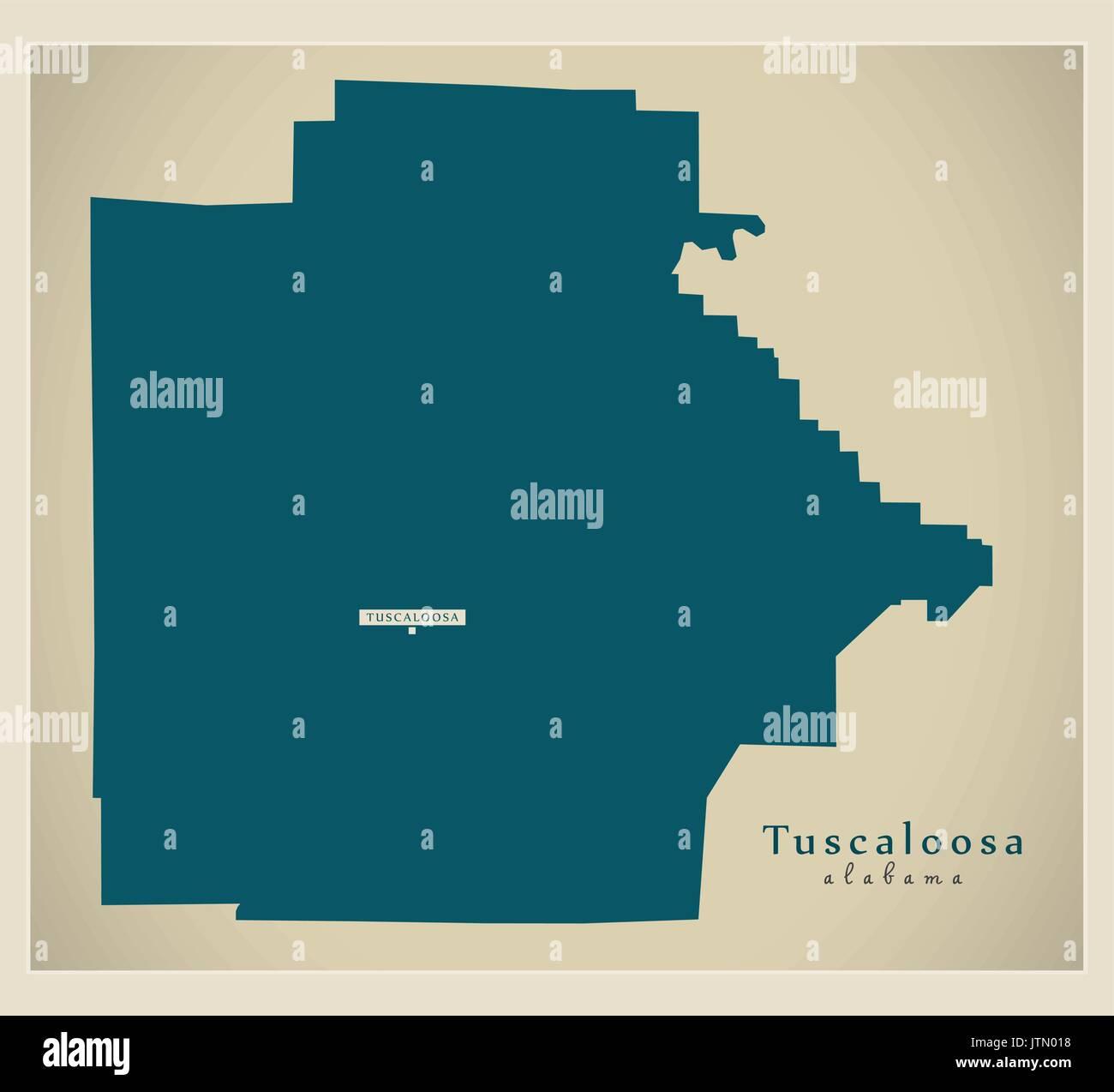 Modern Map - Tuscaloosa Alabama county USA illustration - Stock Image
