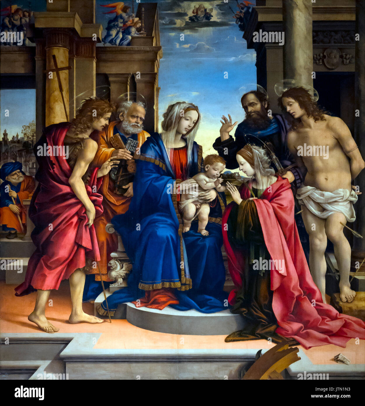 Mystical Marriage of St Catherine,  by Filippino Lippi, 1501–1503, Basilica of San Domenico, Bologna, Emilia-Romagna region, Italy - Stock Image