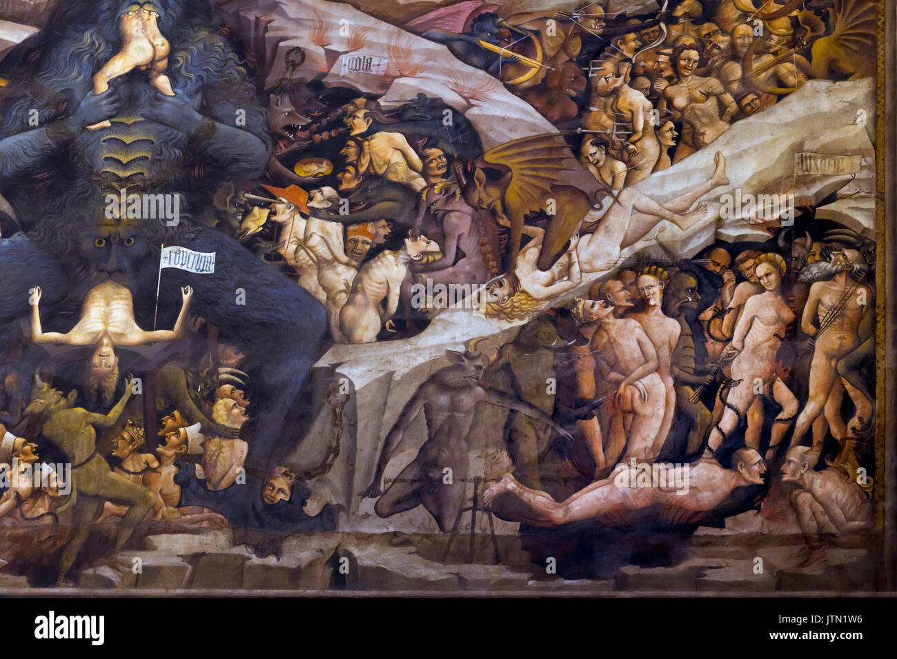 Lucifer Eating Sinners, Heaven and Hell fresco, Cappella Bolognini, Chapel of the Magi, by Giovanni da Modena, 1410, inspired by Dante's Divine Comedy - Stock Image