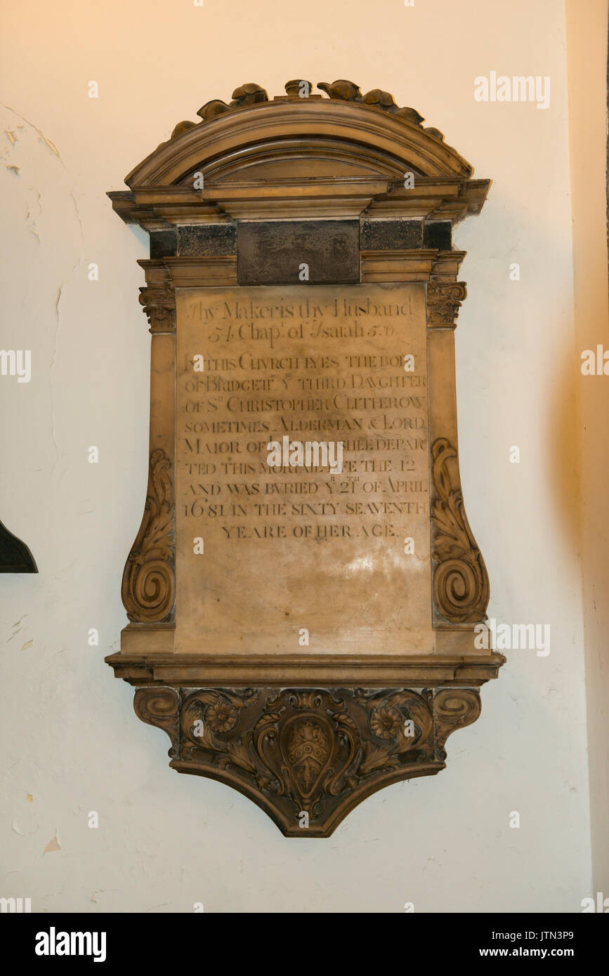 UK City St Andrew Undershaft Church built 1532 was 1147 memorial plaque Bridget 3rd daughter Sir Christopher Clitherow Stock Photo
