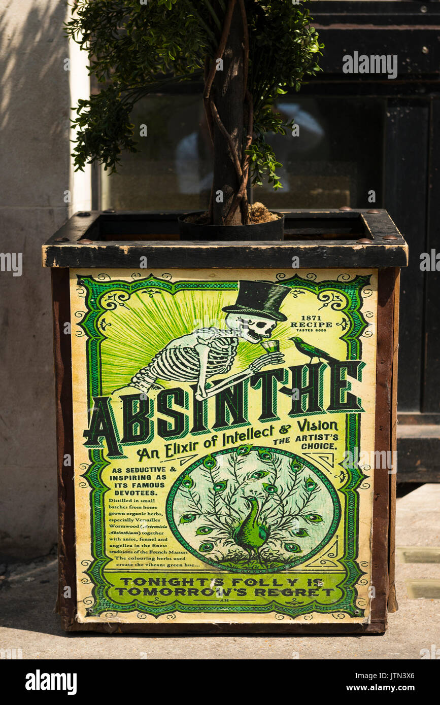 UK London City Financial Centre Center planter outside restaurant repro reproduction old advert publicity Absinthe 1871 recipe Elixir of Intellect - Stock Image
