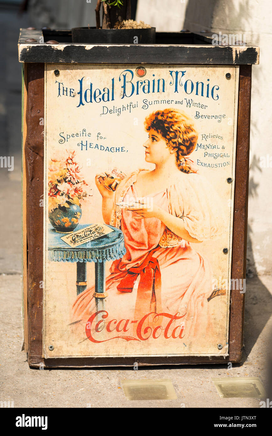 UK London City Financial Centre Center planter outside restaurant repro reproduction old advert publicity Coca-Cola The Ideal Brain Tonic relieves - Stock Image