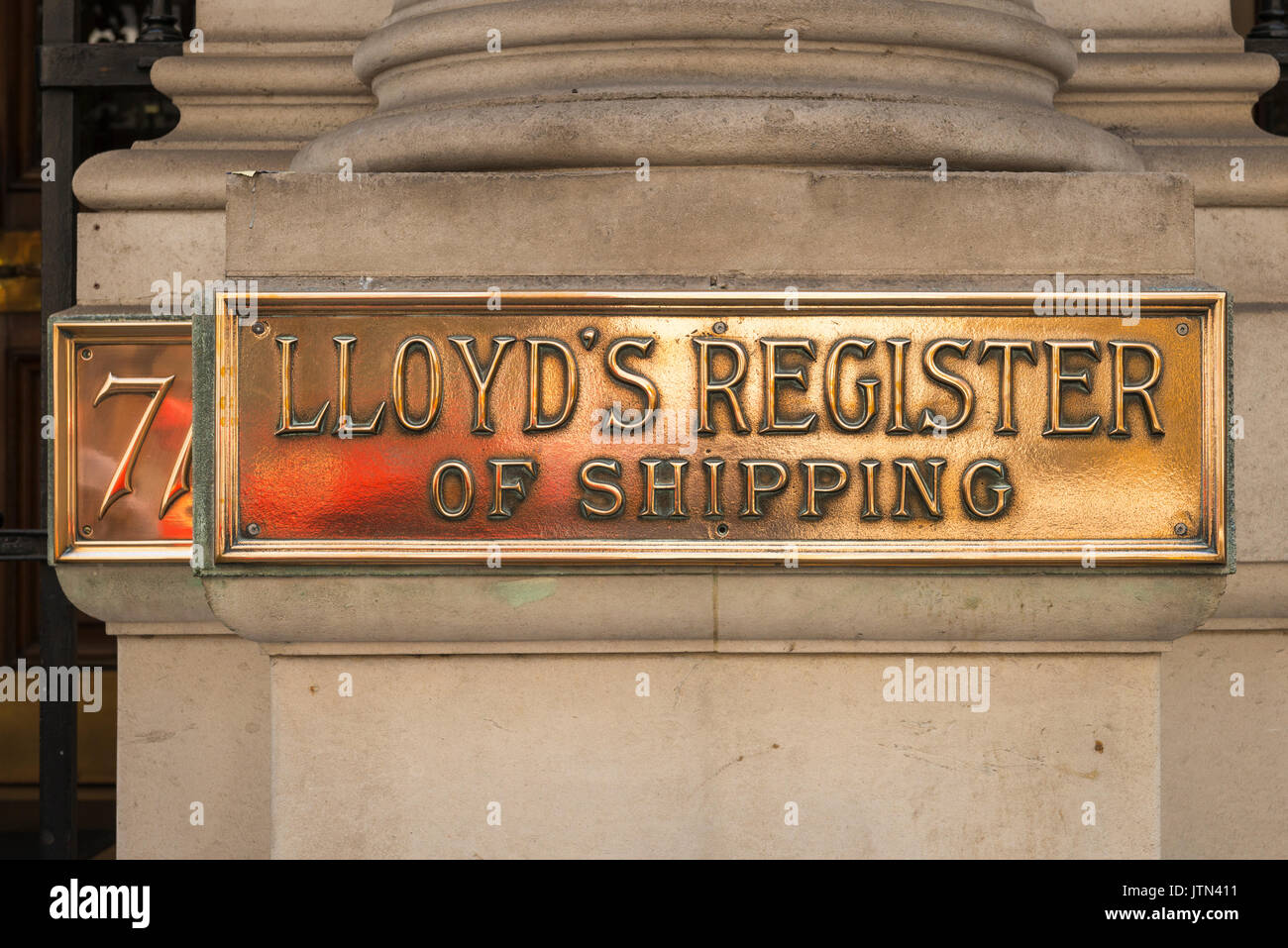 UK London City Financial Centre Center 71 Fenchurch Street Lloyd's Register of Shipping brass plate founded 1760 charity now oil gas nuclear rail etc - Stock Image