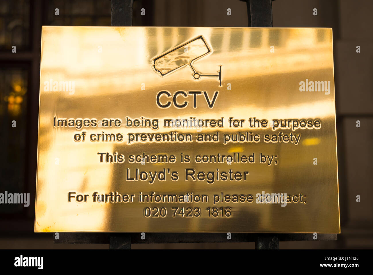 UK London City Financial Centre Center 71 Fenchurch Street Lloyd's Register of Shipping brass plate plaque founded 1760 CCTV sign crime prevention - Stock Image