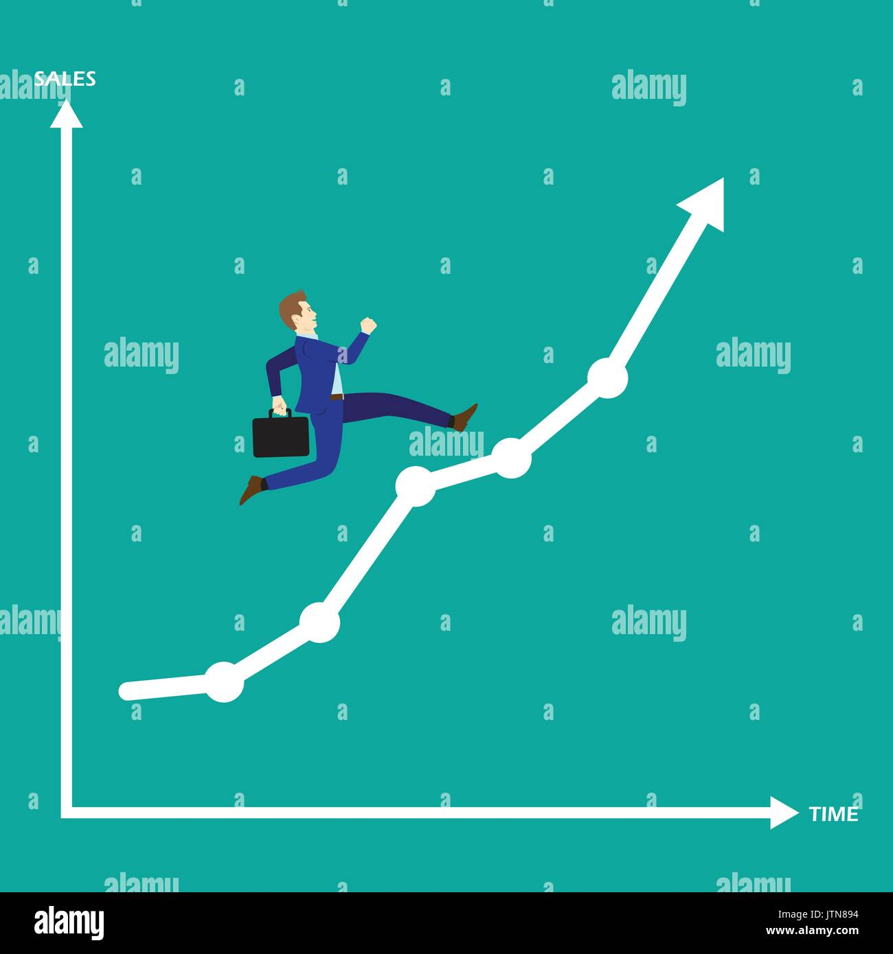 Business Concept As A Businessman Is Running On Growth Line Graph. He Enjoys The New Opportunity Growth. Higher Stock Vector