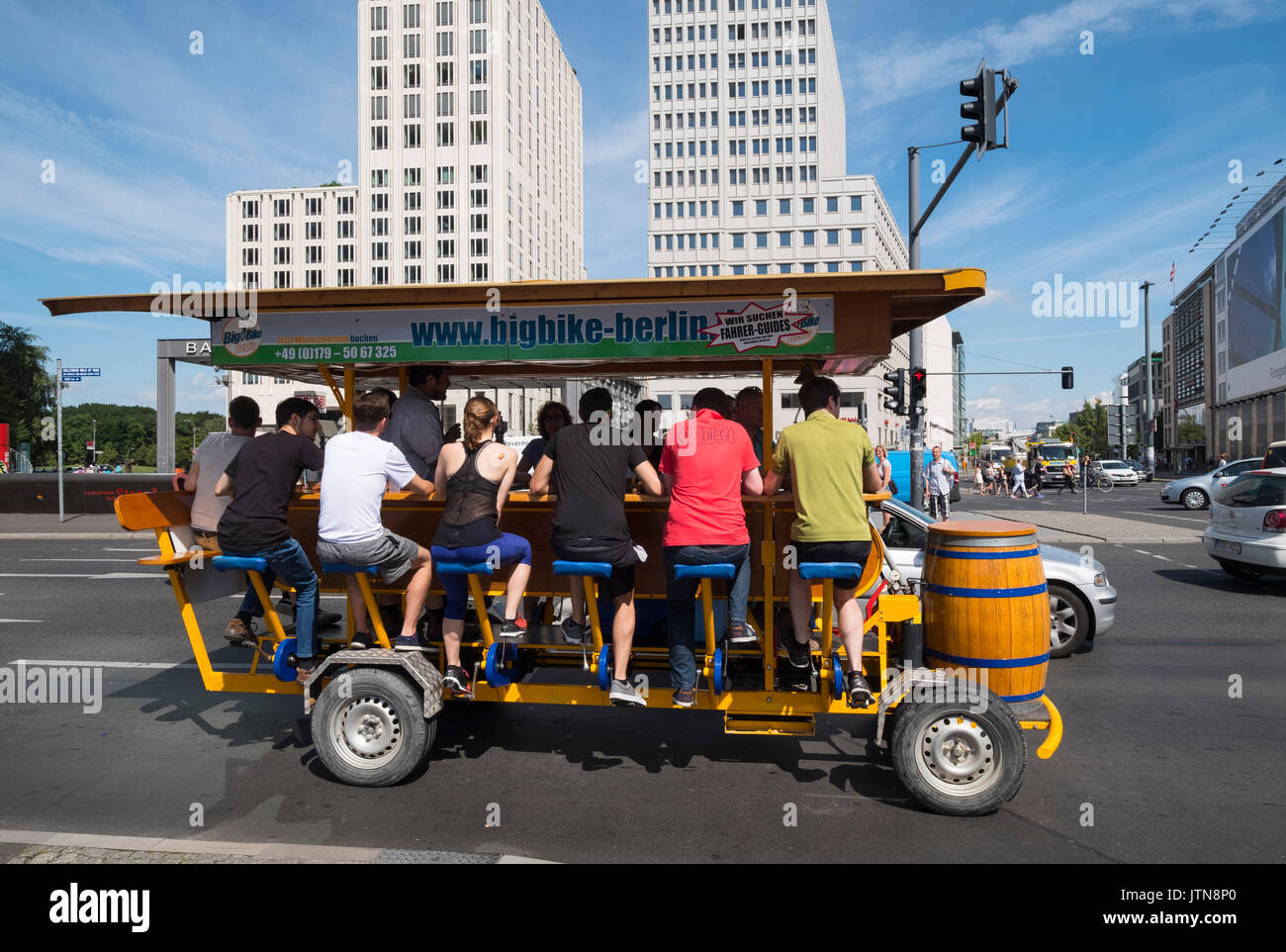 Mobile bicycle powered bar at Potsdamer Platz in Berlin, Germany - Stock Image