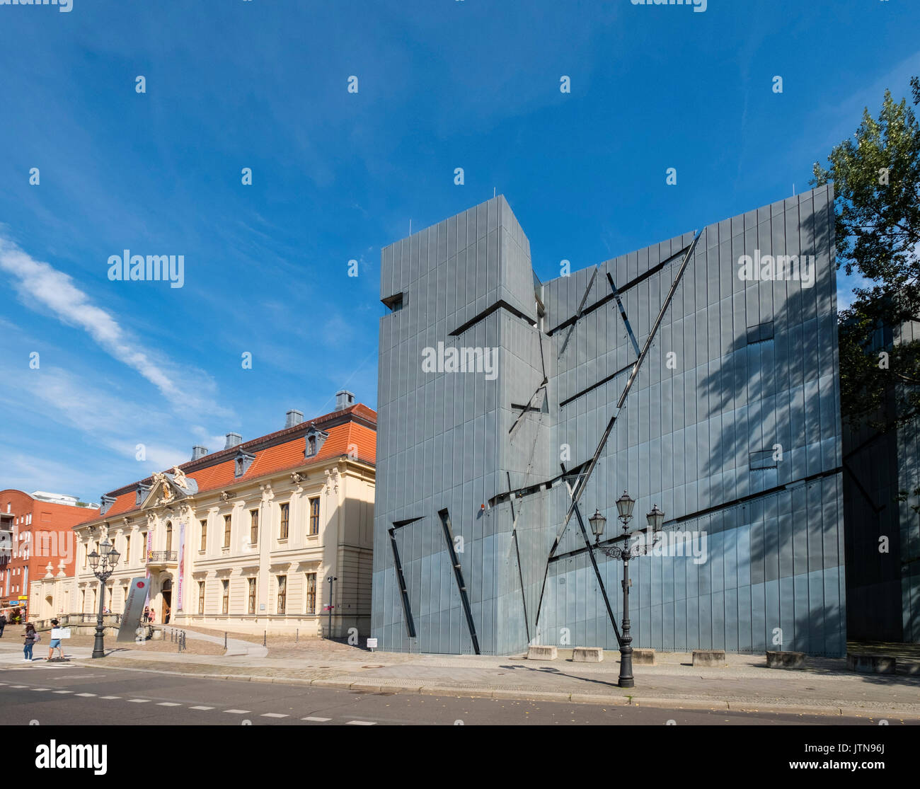 View of the Jewish Museum  and modern extension designed by Daniel Libeskind in Kreuzberg, Berlin, Germany - Stock Image