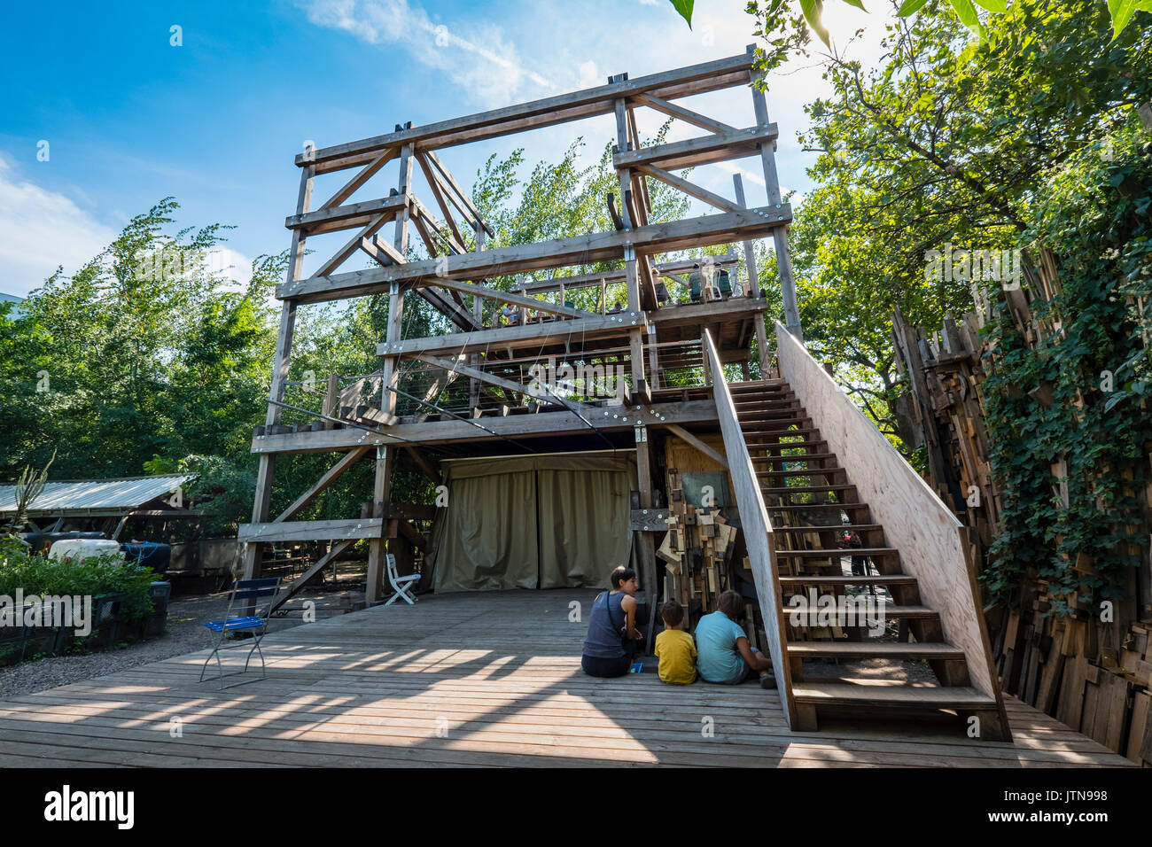 View Of Die Laube Or Arbor A Wooden Structure With Platforms At