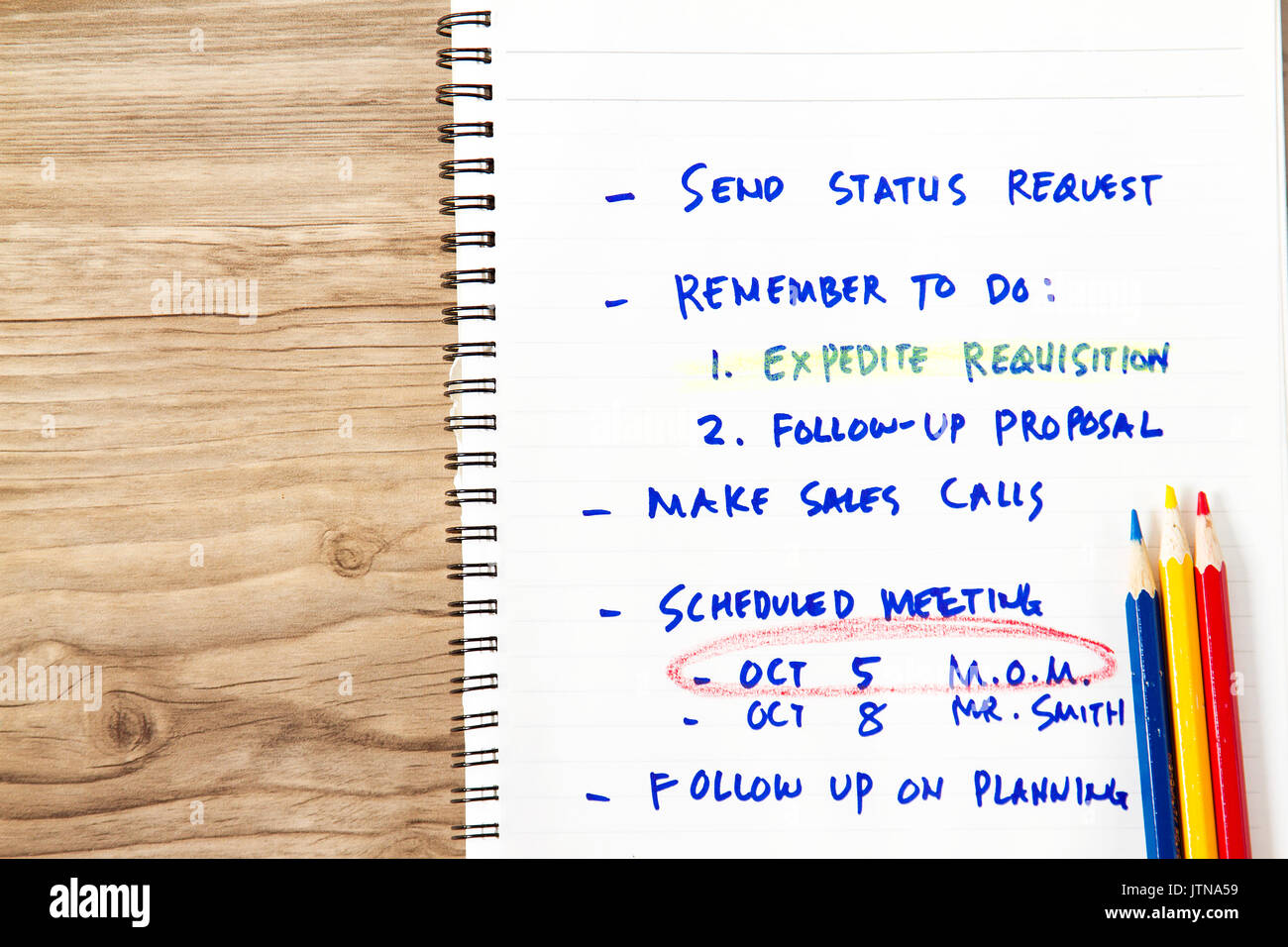 Personal notes concept with notation on mostly follow-up and reminders. - Stock Image