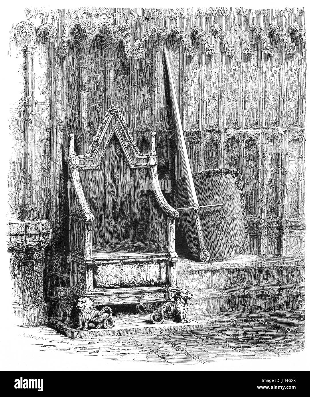 1870: The Coronation Chair, known historically as St Edward's Chair or King Edward's Chair, is an ancient wooden throne on which the British monarch sits when he or she is invested with regalia and crowned at the coronation in London, England. It was commissioned in 1296 by King Edward I to contain the coronation stone of Scotland – known as the Stone of Destiny – which had been captured from the Scots who kept it at Scone Abbey in Perthshire, Scotland. - Stock Image