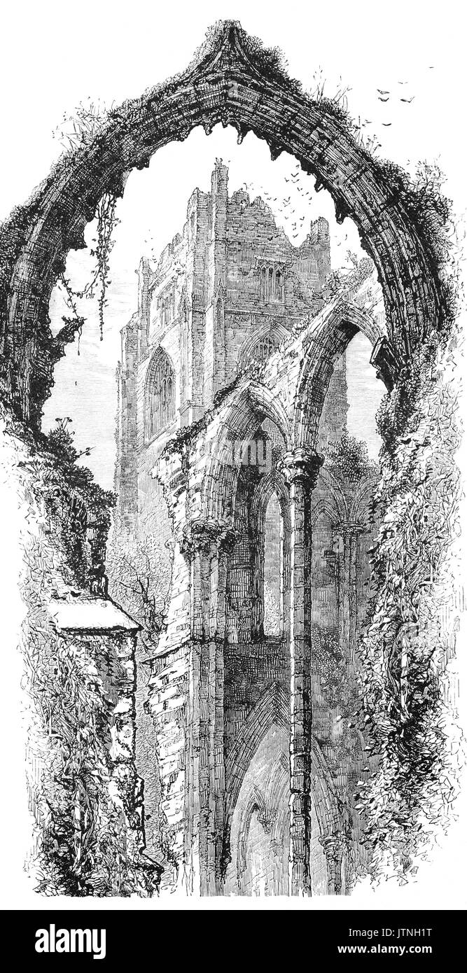 1870: Fountains Abbey is one of the largest and best preserved ruined Cistercian monasteries in England. It is located near Ripon in North Yorkshire. Founded in 1132, the abbey operated for 407 years, until 1539, when Henry VIII ordered the Dissolution of the Monasteries. - Stock Image