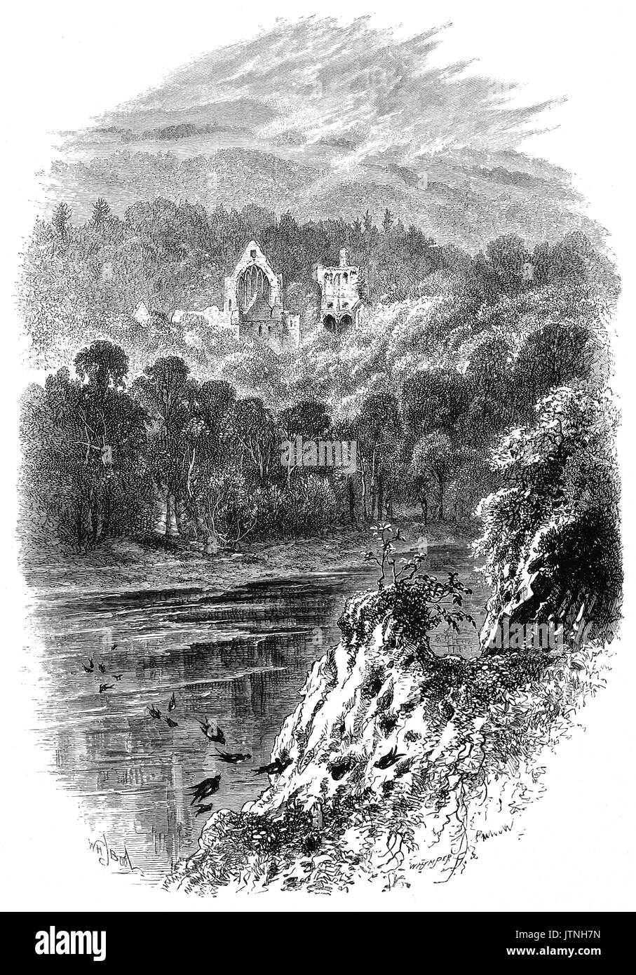1870: Dryburgh Abbey, from the banks of the River Tweed. It was founded in the 12th Century, then burned by English troops in 1322, after which it was restored only to be again burned by Richard II in 1385. It flourished in the fifteenth century, finally destroyed in 1544, briefly to survive until the Scottish Reformation.  Sir Walter Scott and Douglas Haig are buried in its grounds. Roxburghshire, Scotland, United Kingdom. - Stock Image