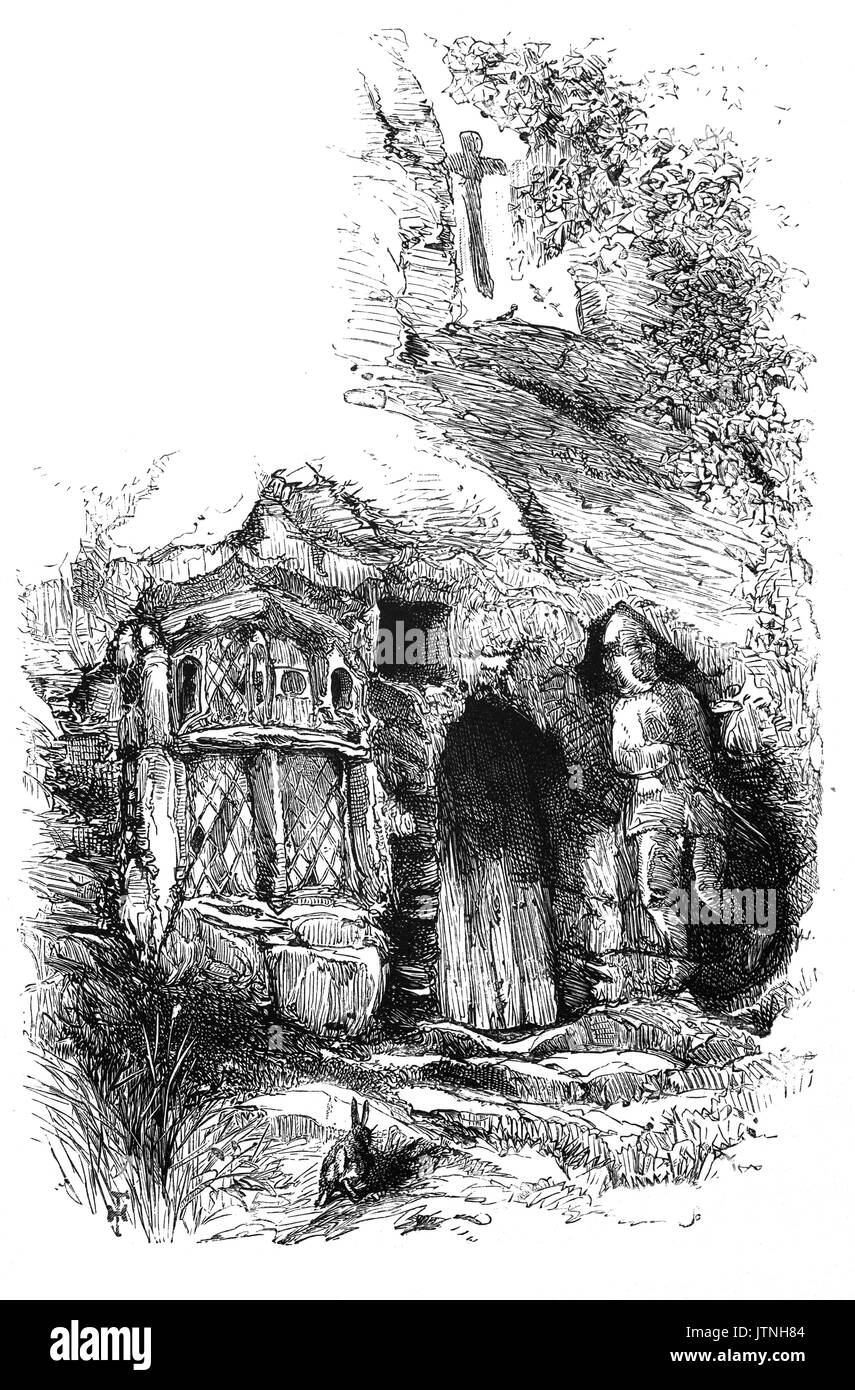 1870: St Robert's Chapel: Robert of Knaresborough (1160 – 1218) was a hermit who lived in a cave by the River Nidd, Stock Photo