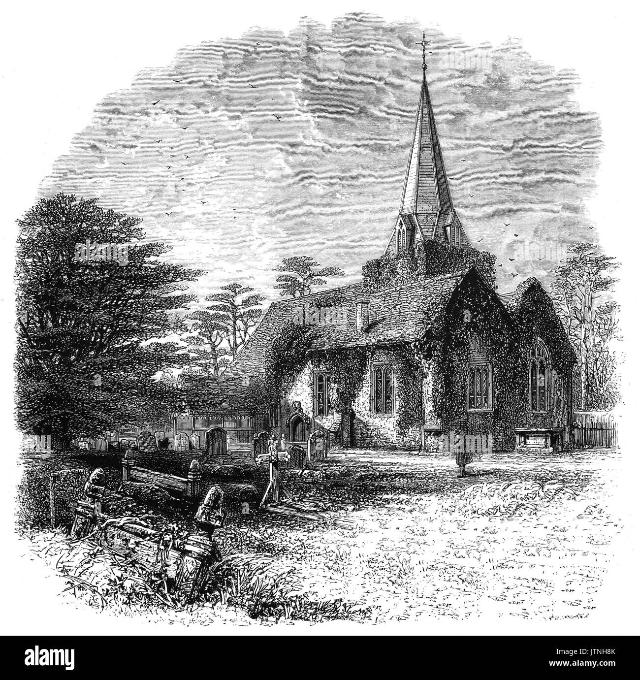 1870: The Churchyard and Norman Saint Giles church in Stoke Poges, a village in the South Bucks district of Buckinghamshire, England. Thomas Gray's  'Elegy Written in a Country Churchyard' is believed to have been written in the churchyard. - Stock Image