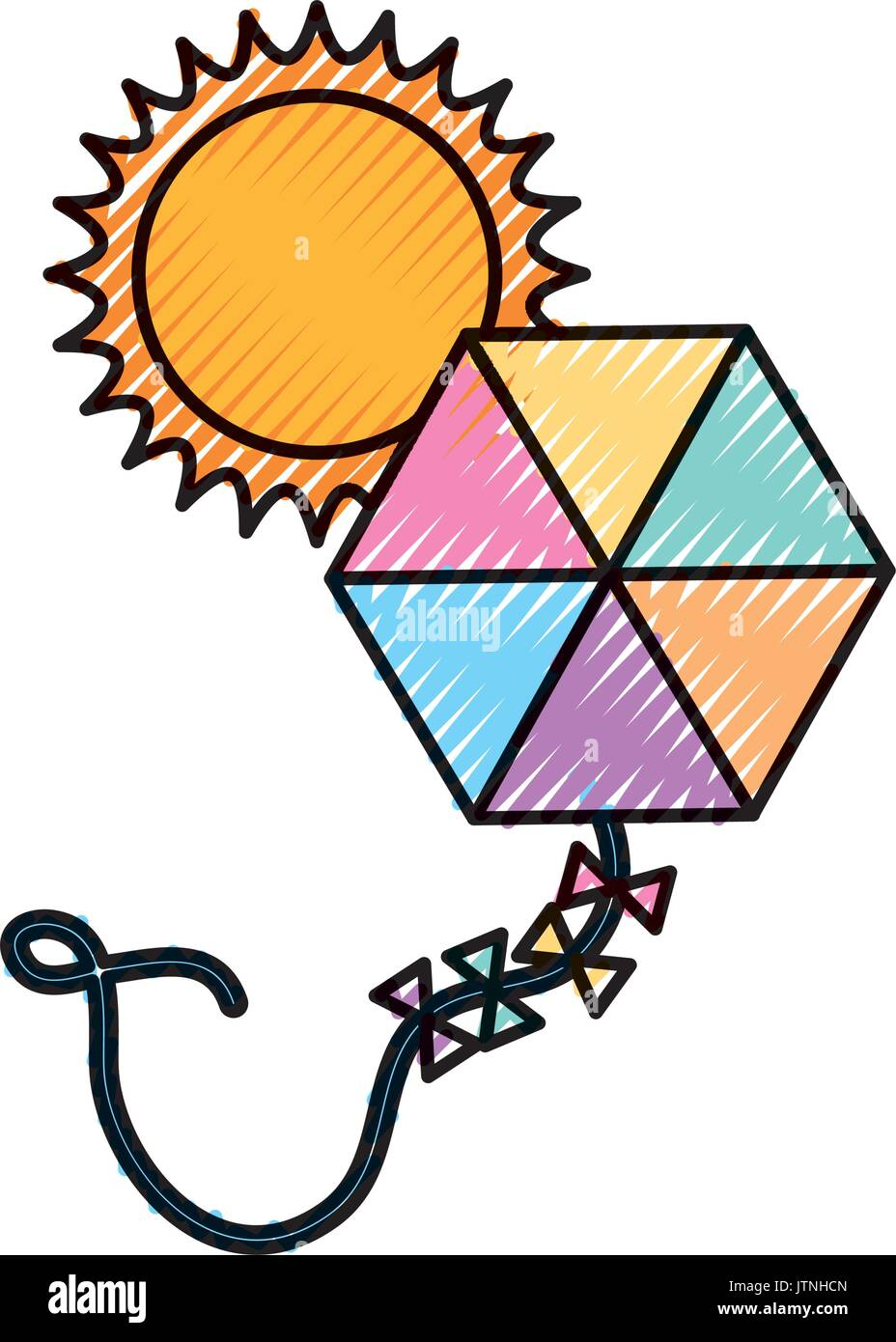 beautiful kite flying with sun - Stock Vector