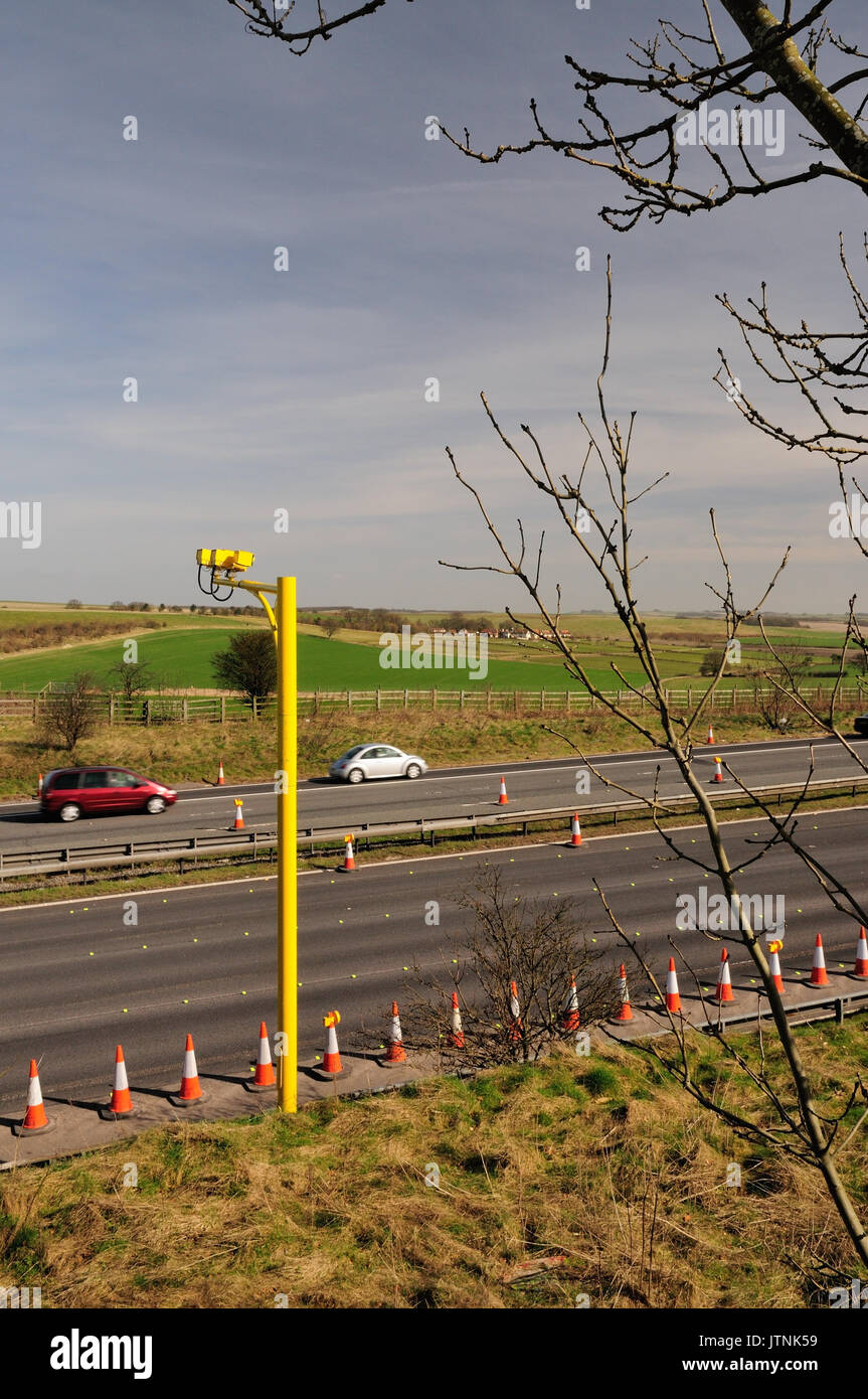 Average speed cameras at roadworks on the M4 motorway. - Stock Image