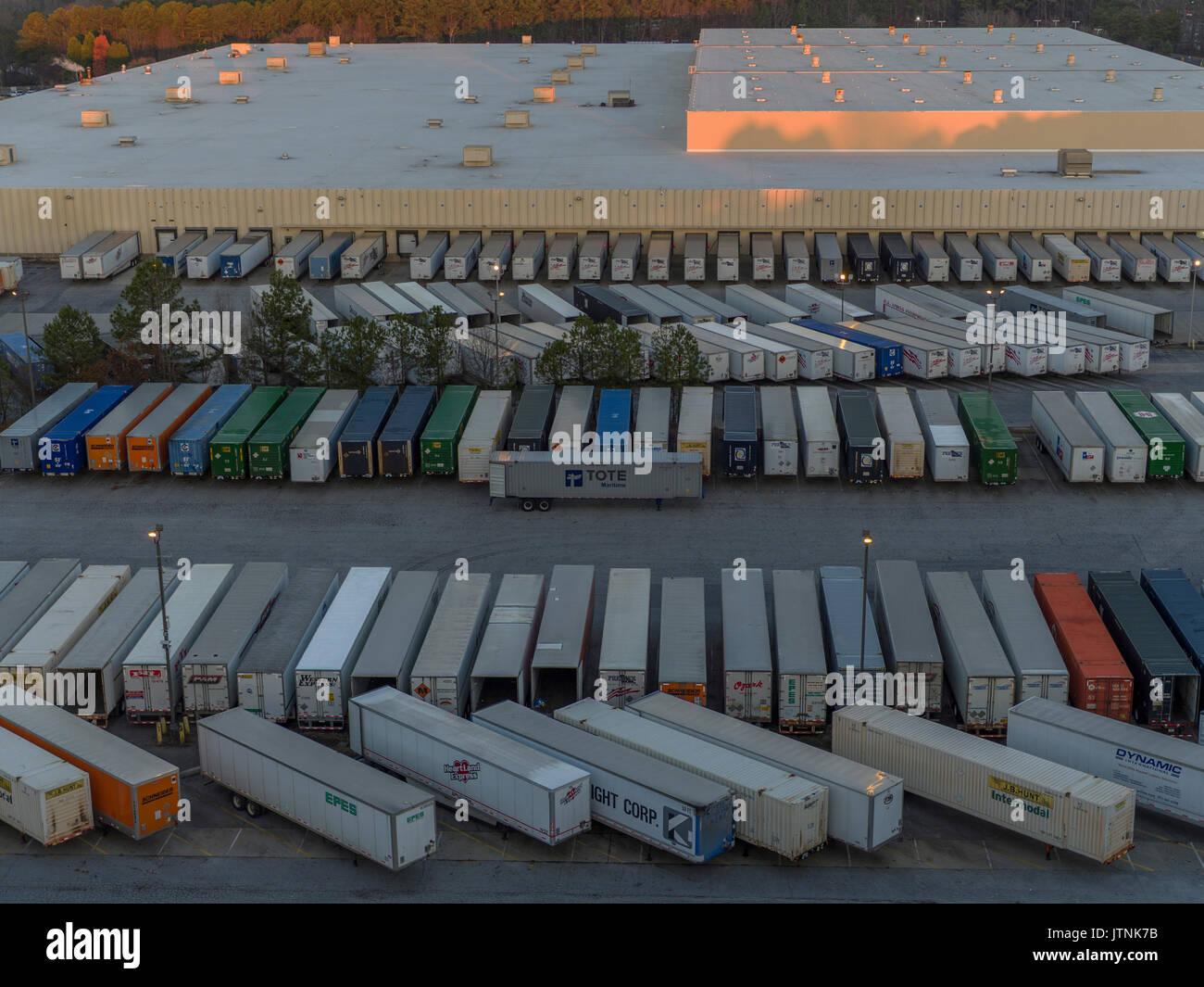 Marshall's Warehouse, Decatur, Georgia. Drone image - Stock Image
