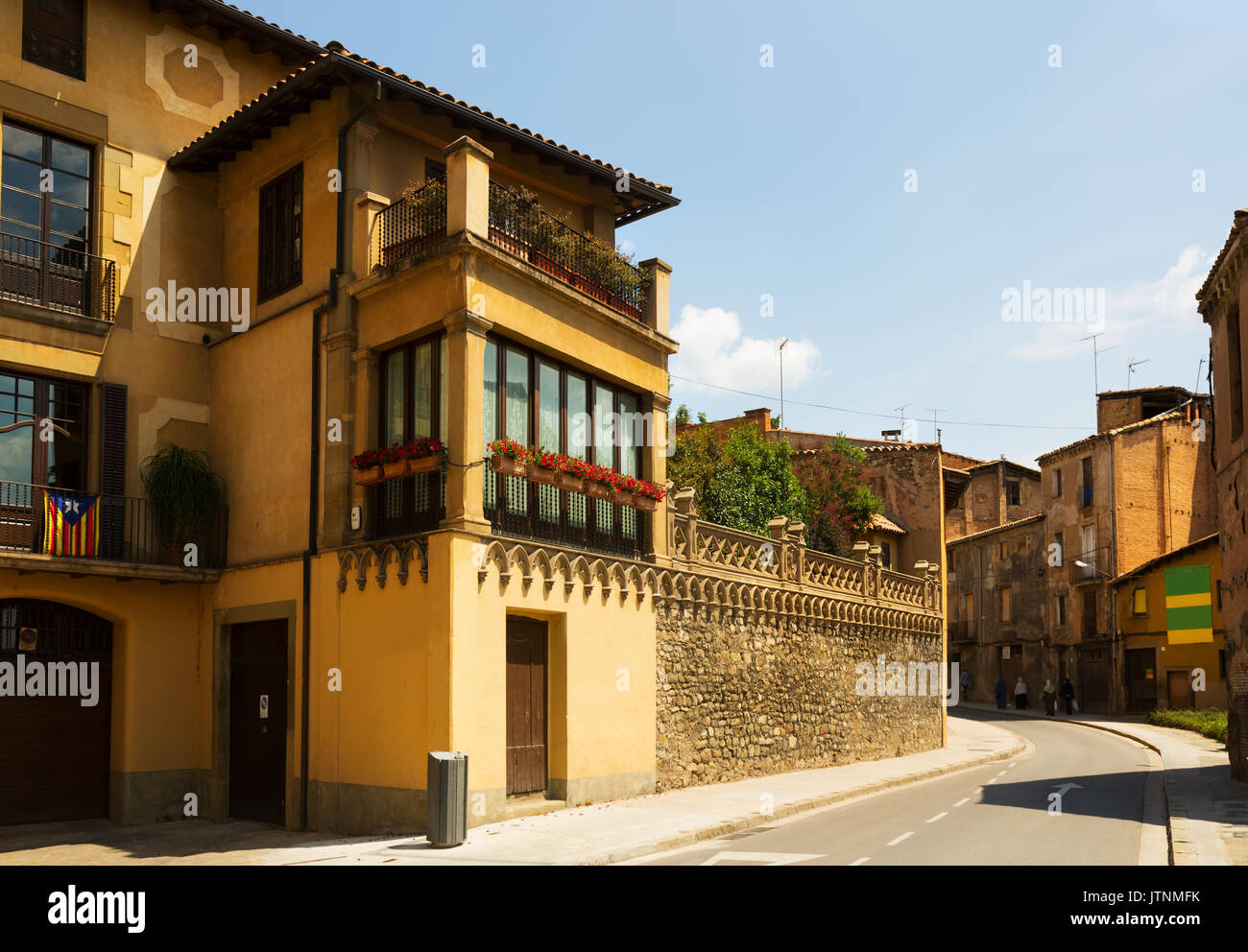 picturesque street of  Catalan town. Vic,  Spain - Stock Image