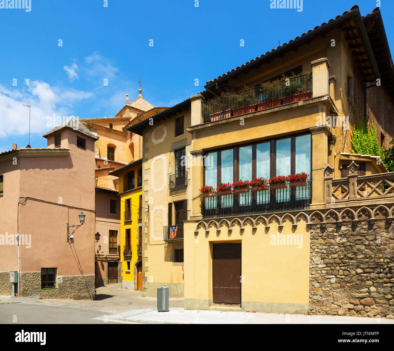 picturesque street of old Catalan town. Vic,  Spain - Stock Image